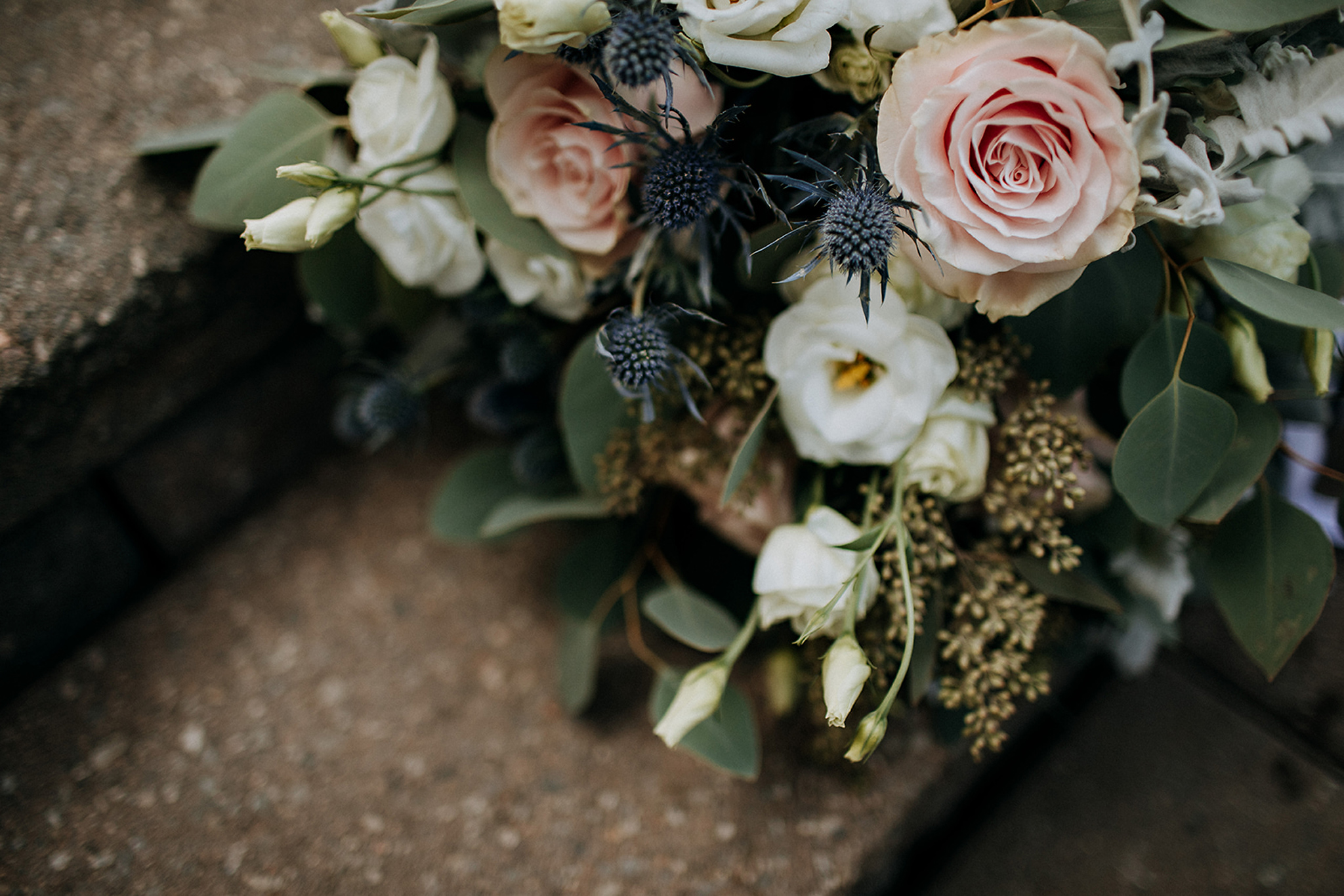 blush white and muted sage bouquet detail at meaford barn weddin