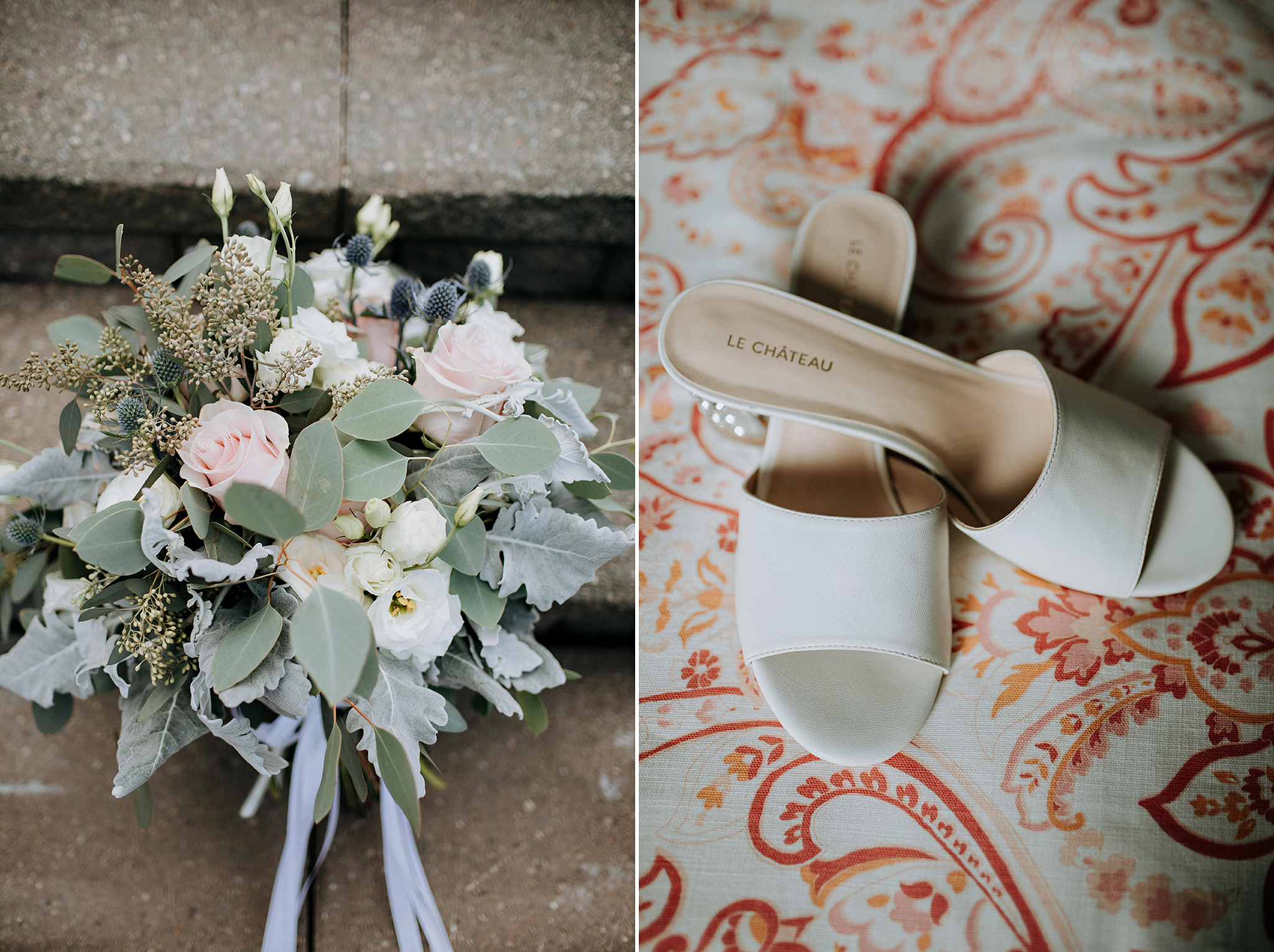 blush bouquet and classy sandles at barn wedding in meaford