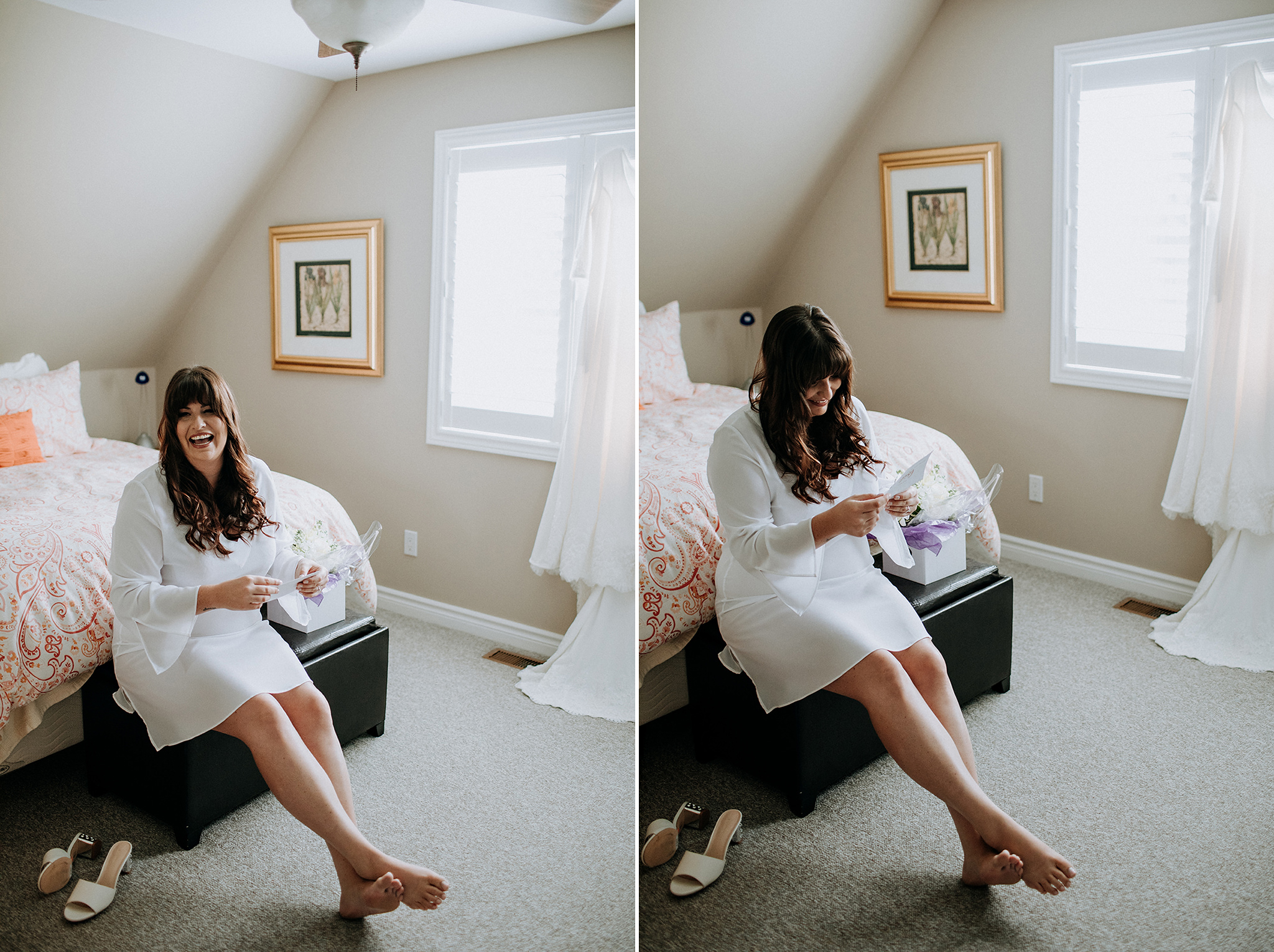 bride laughing while reading her card at meaford barn wedding