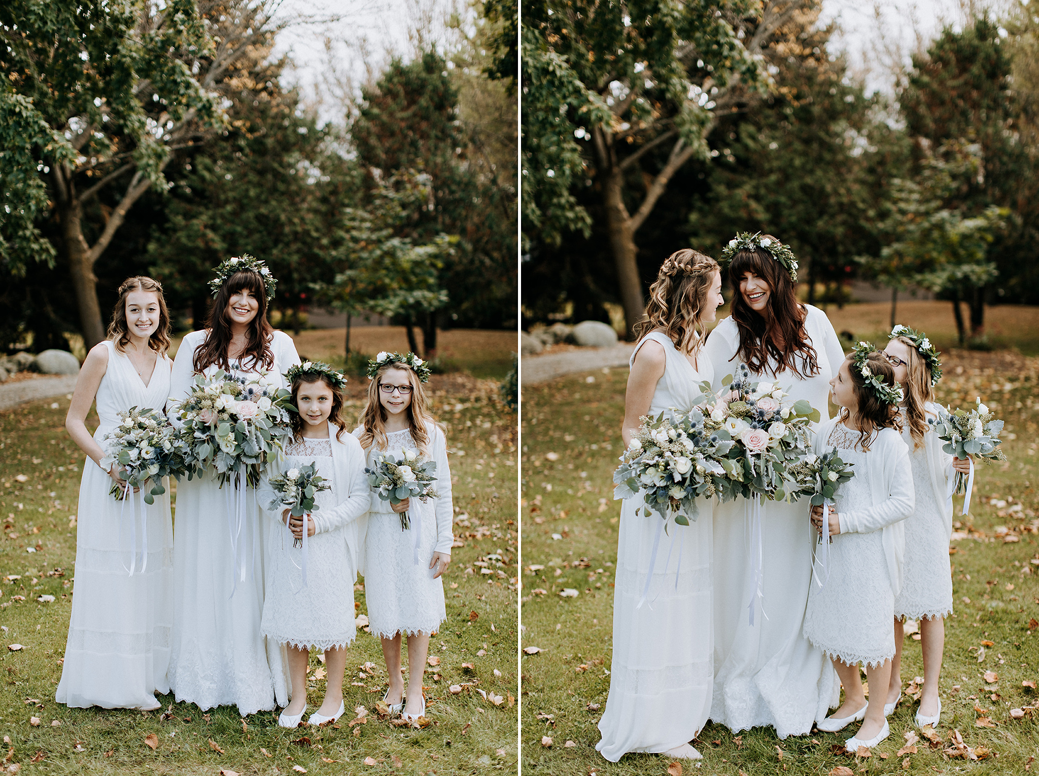 portrait bride and flower girls at meaford barn wedding