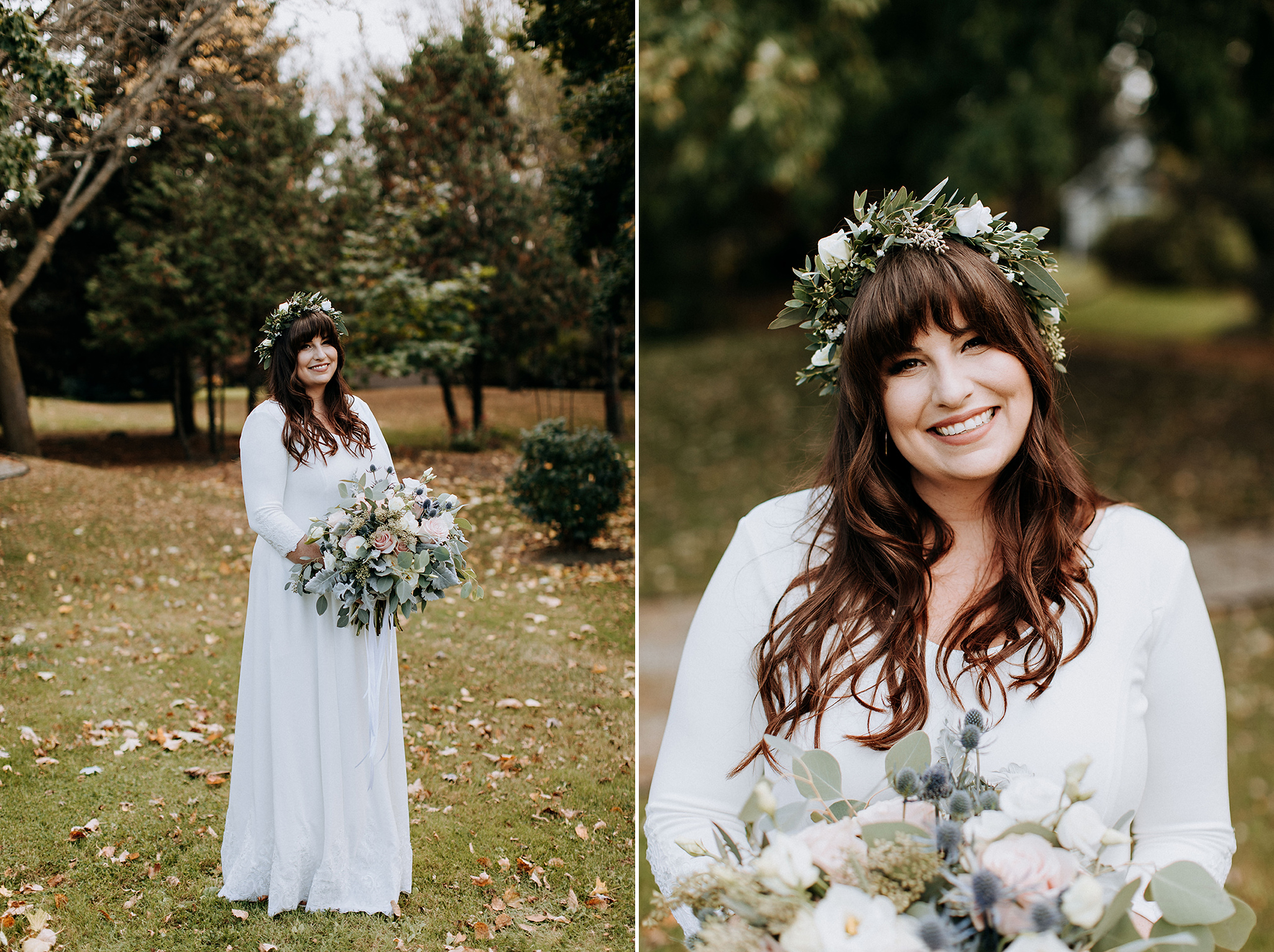 beautiful boho bride with flower crown and blush bouquet at meaf