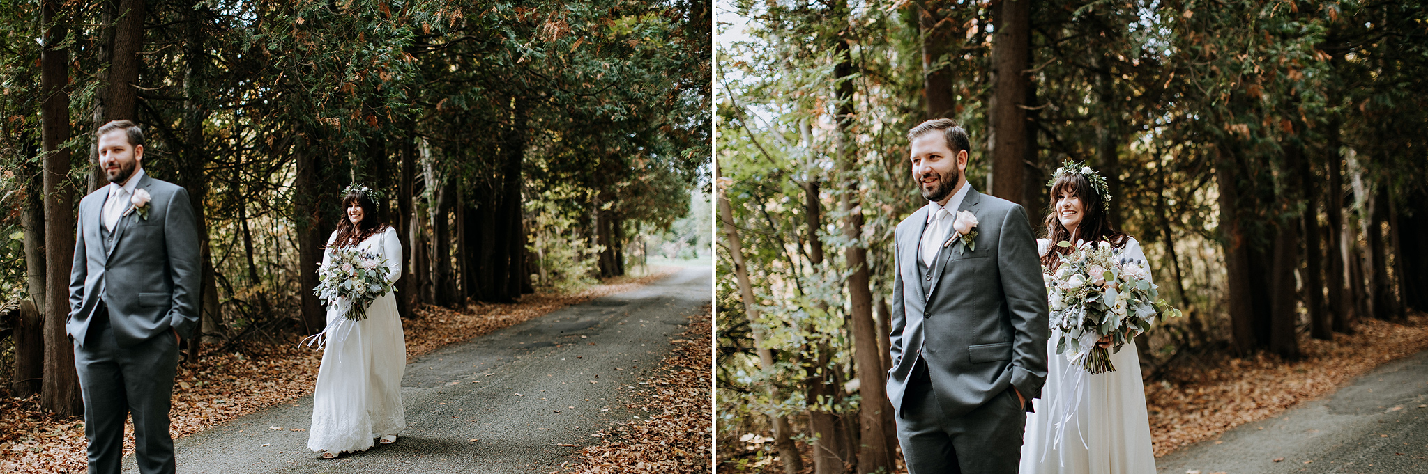 first look in the middle of a cedar forest at meaford barn weddi