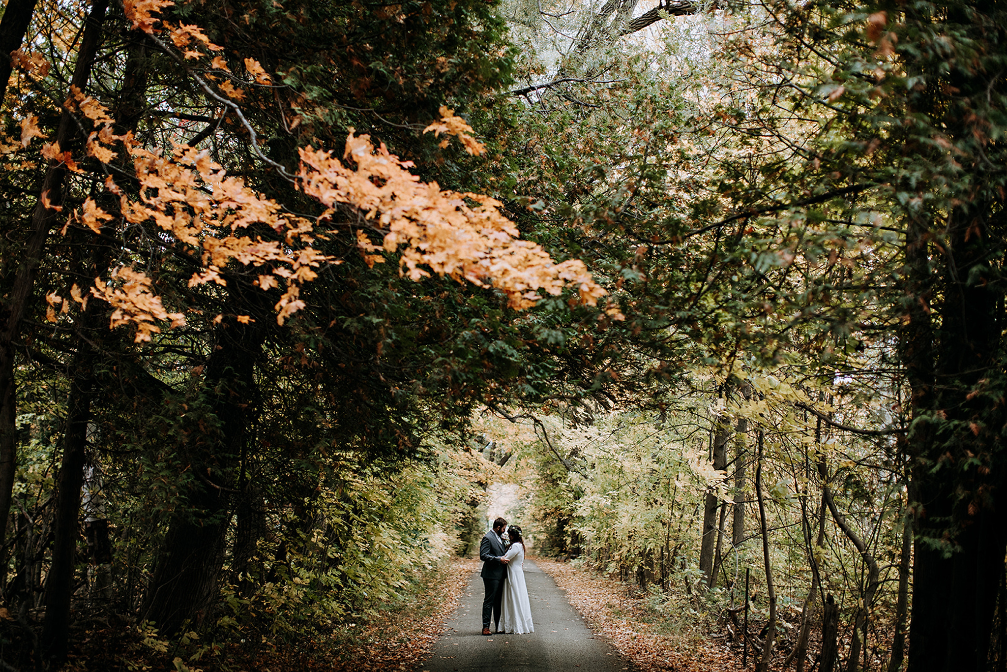 couple in the middle of a cedar forest with autumn colours at me