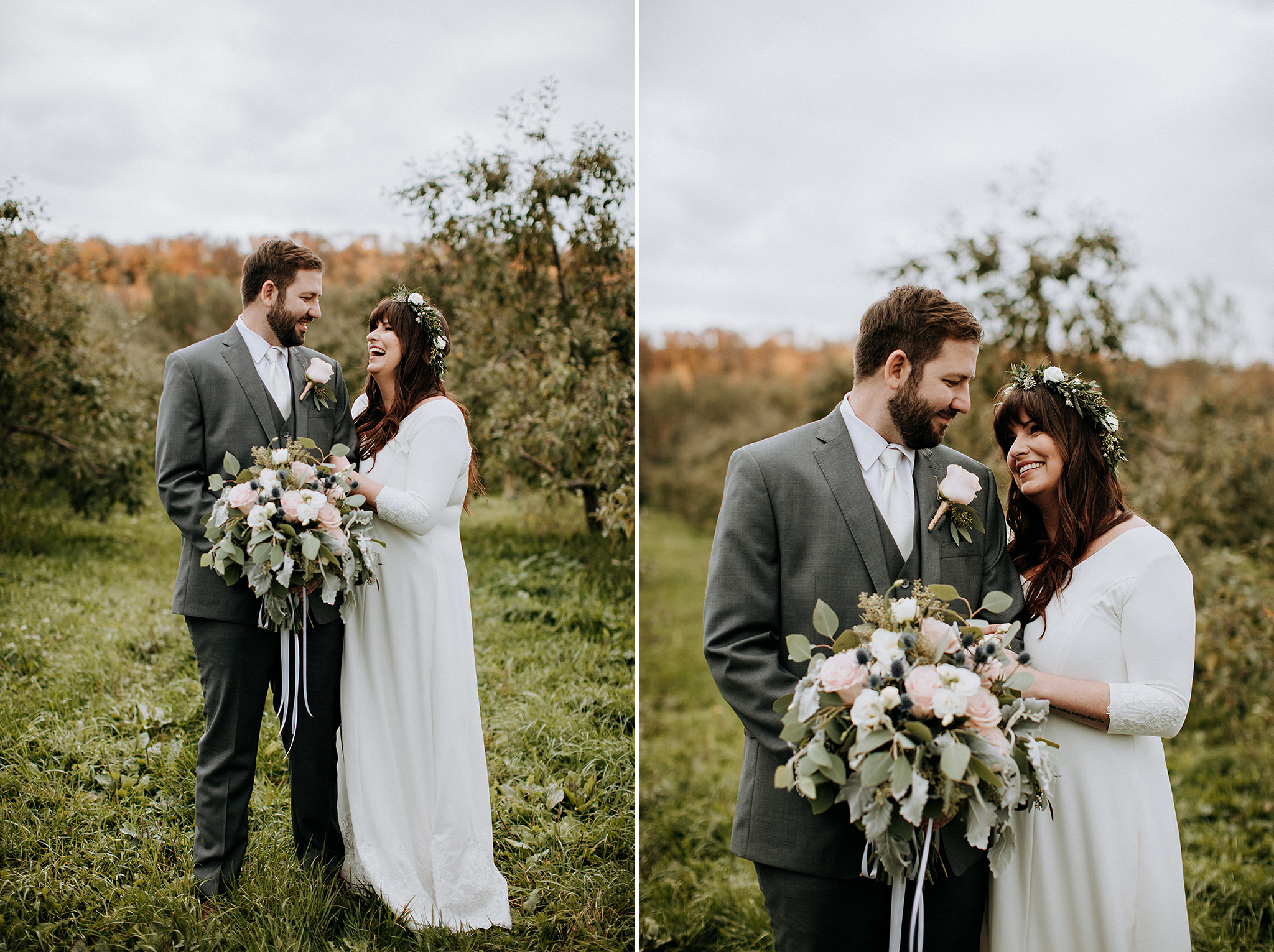 couples portrait in apple orchard at meaford barn wedding