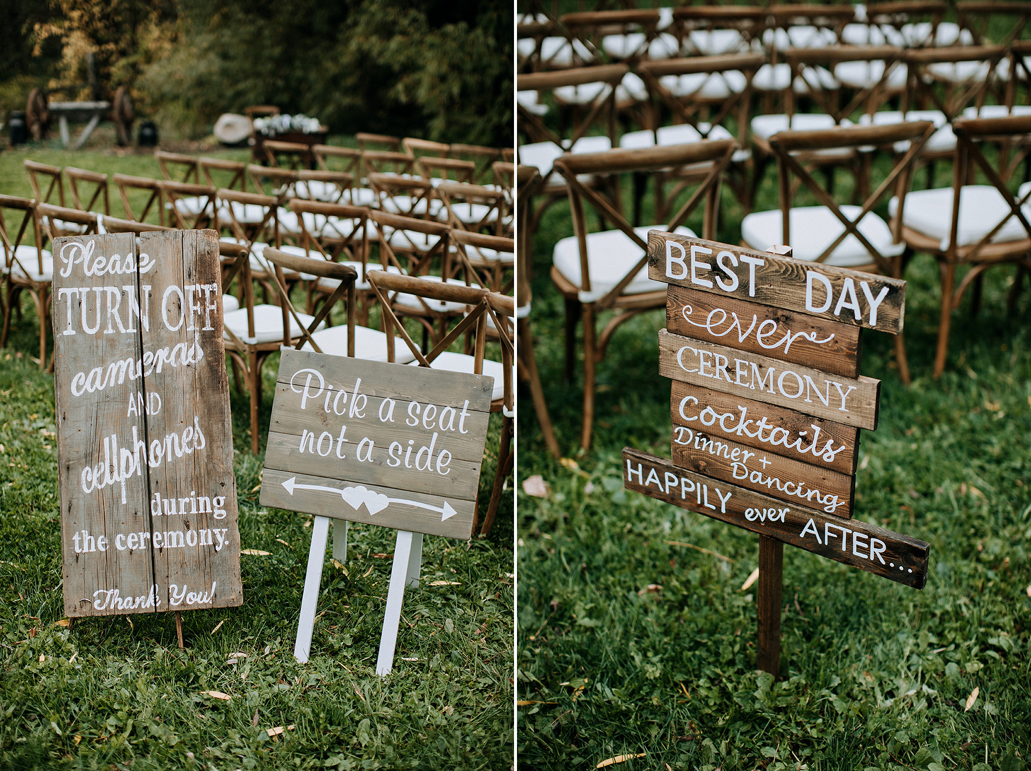 handwritten wedding signs on barn board at meaford wedding