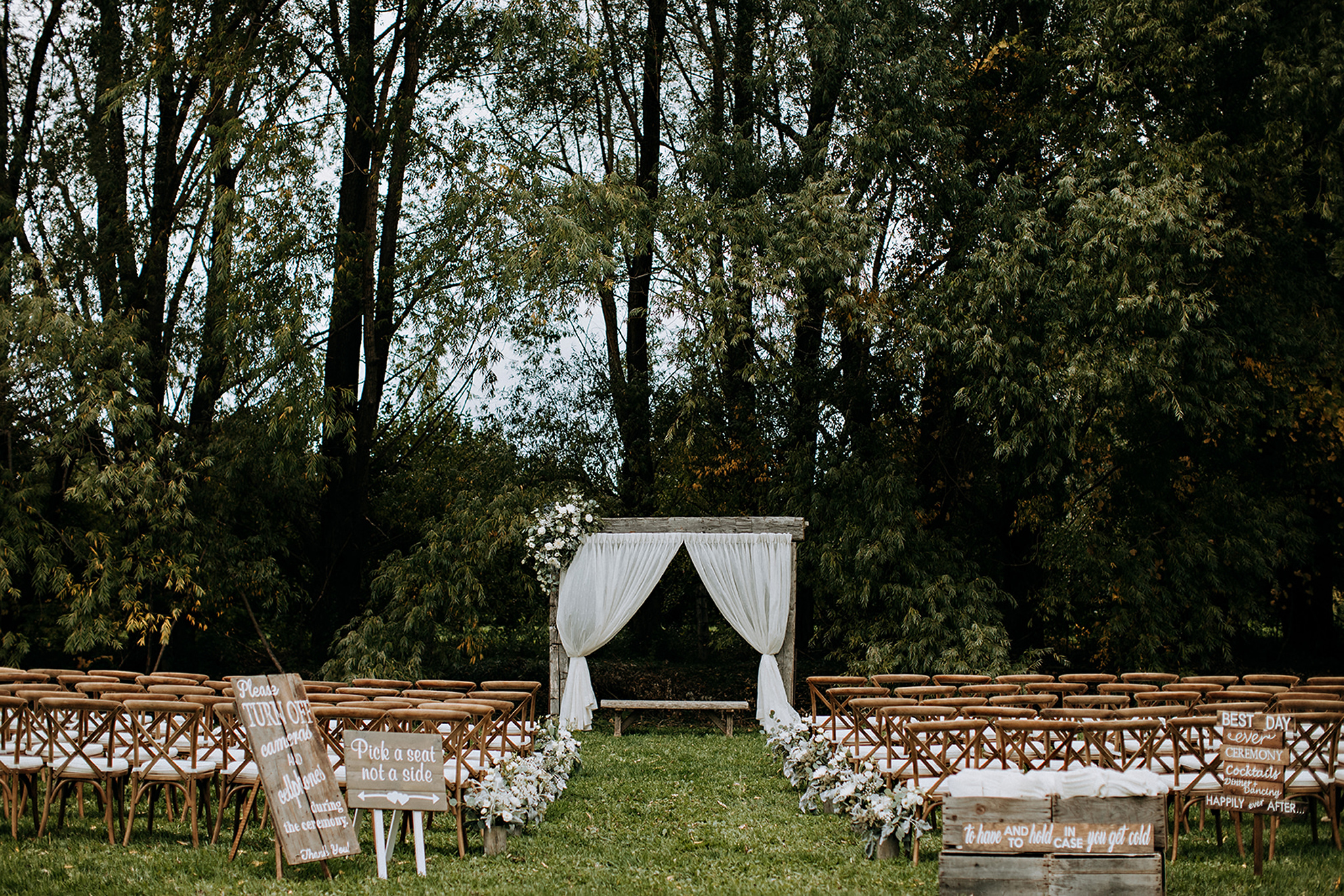 boho outdoor ceremony site at meaford barn wedding