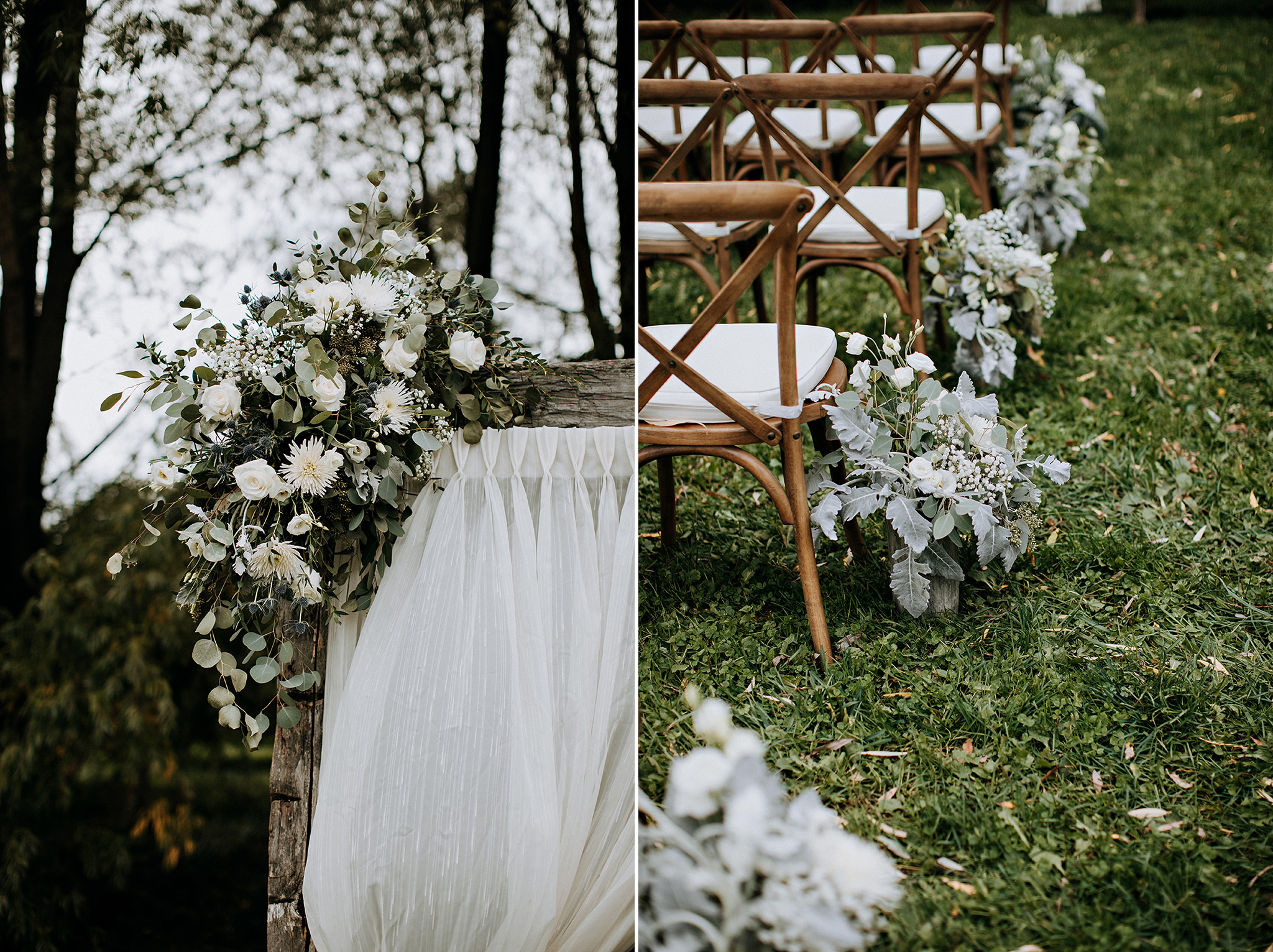 blush and white wedding flowers at outdoor ceremony in meaford