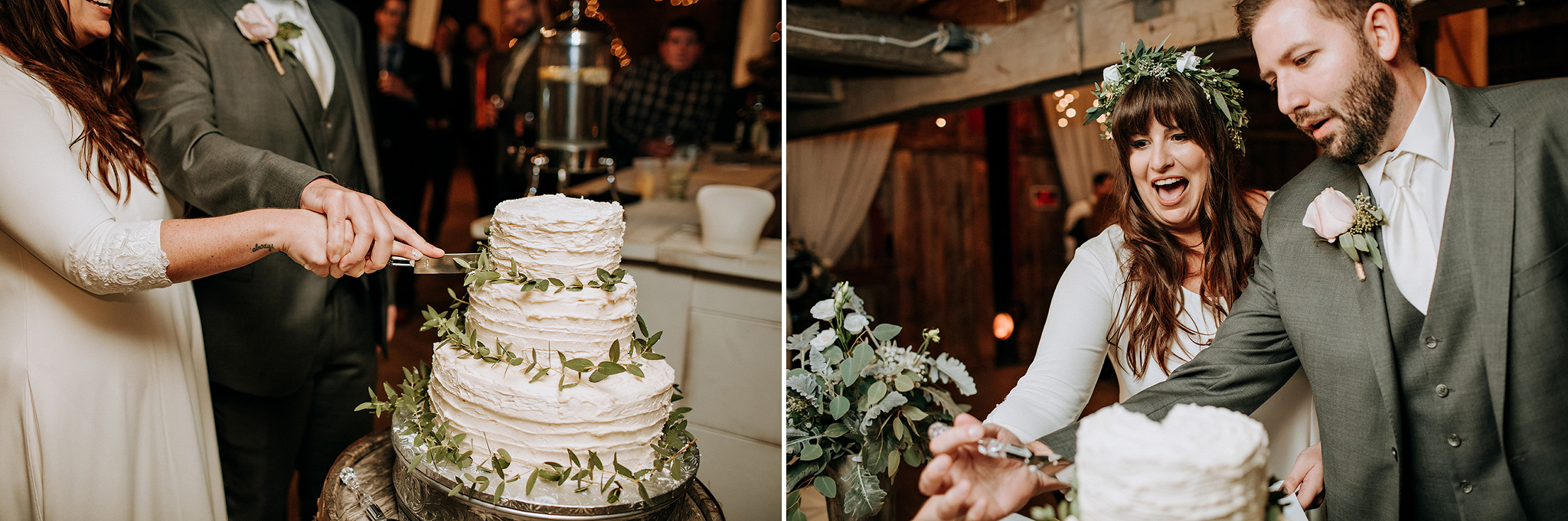 cake cutting at meaford barn wedding