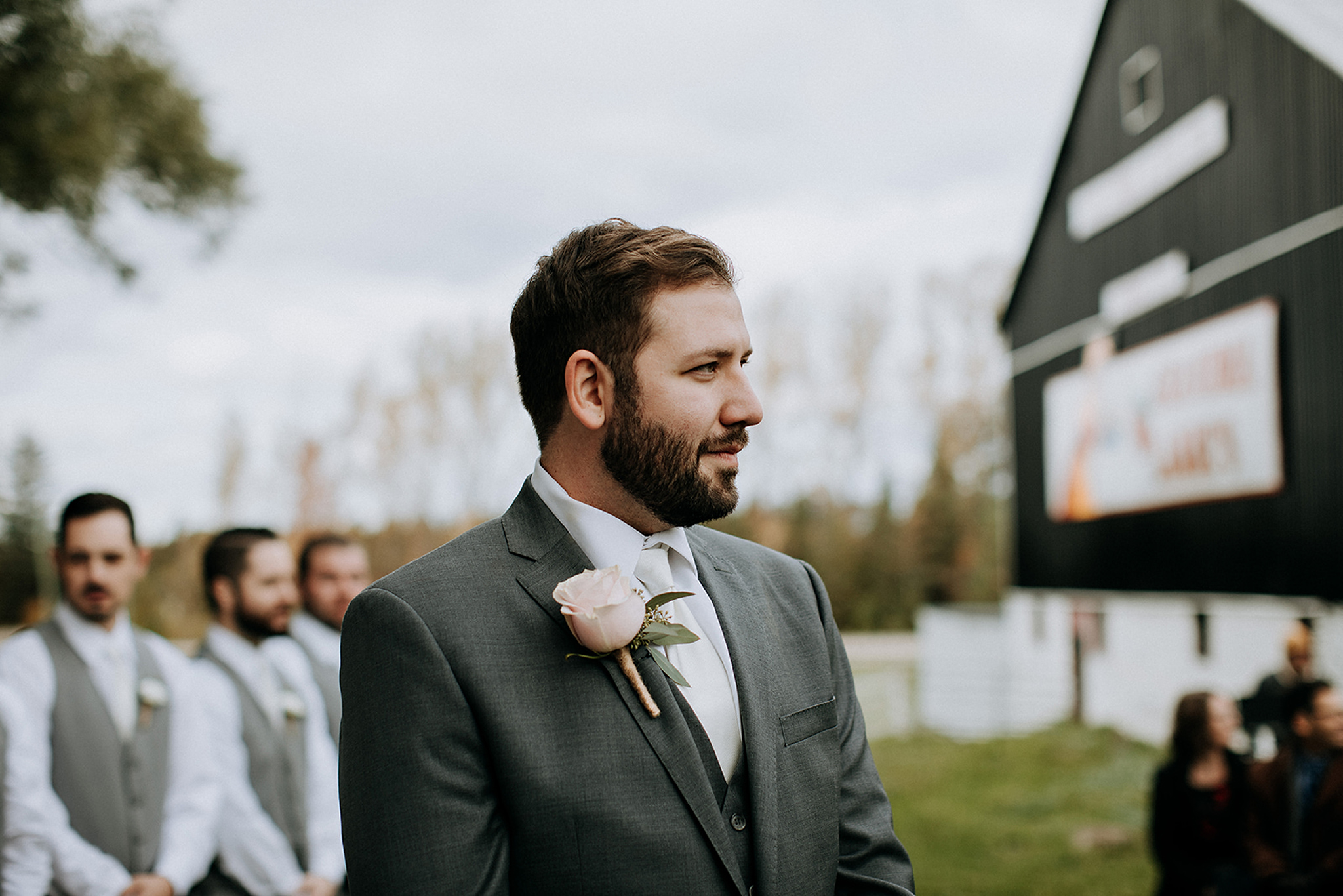 groom waiting for bride at outdoor ceremony in meaford