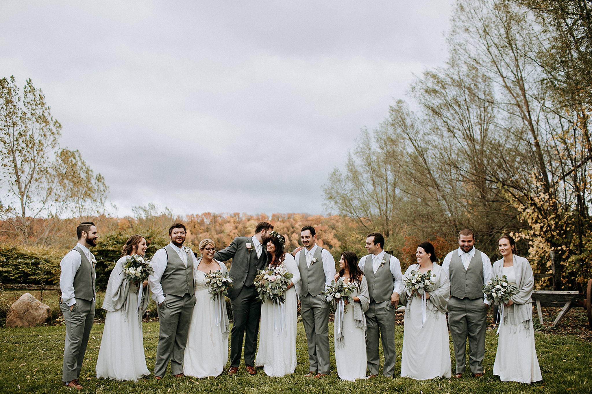 cozy autumn wedding party photos at meaford barn wedding