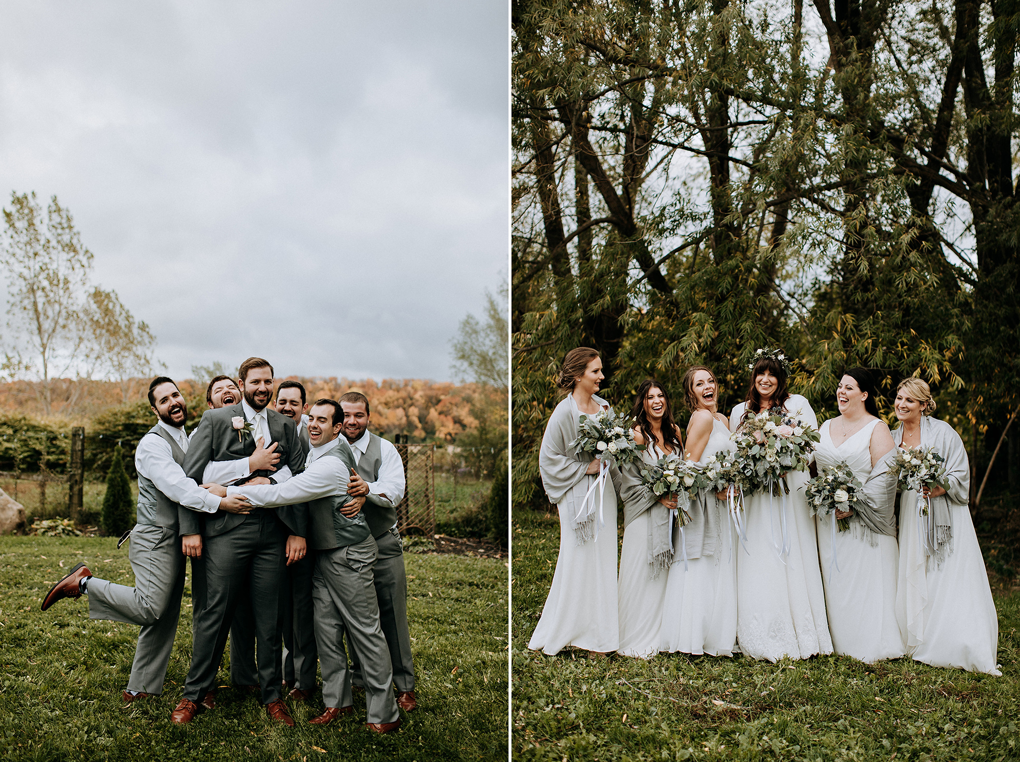 fun wedding party photos at meaford barn wedding