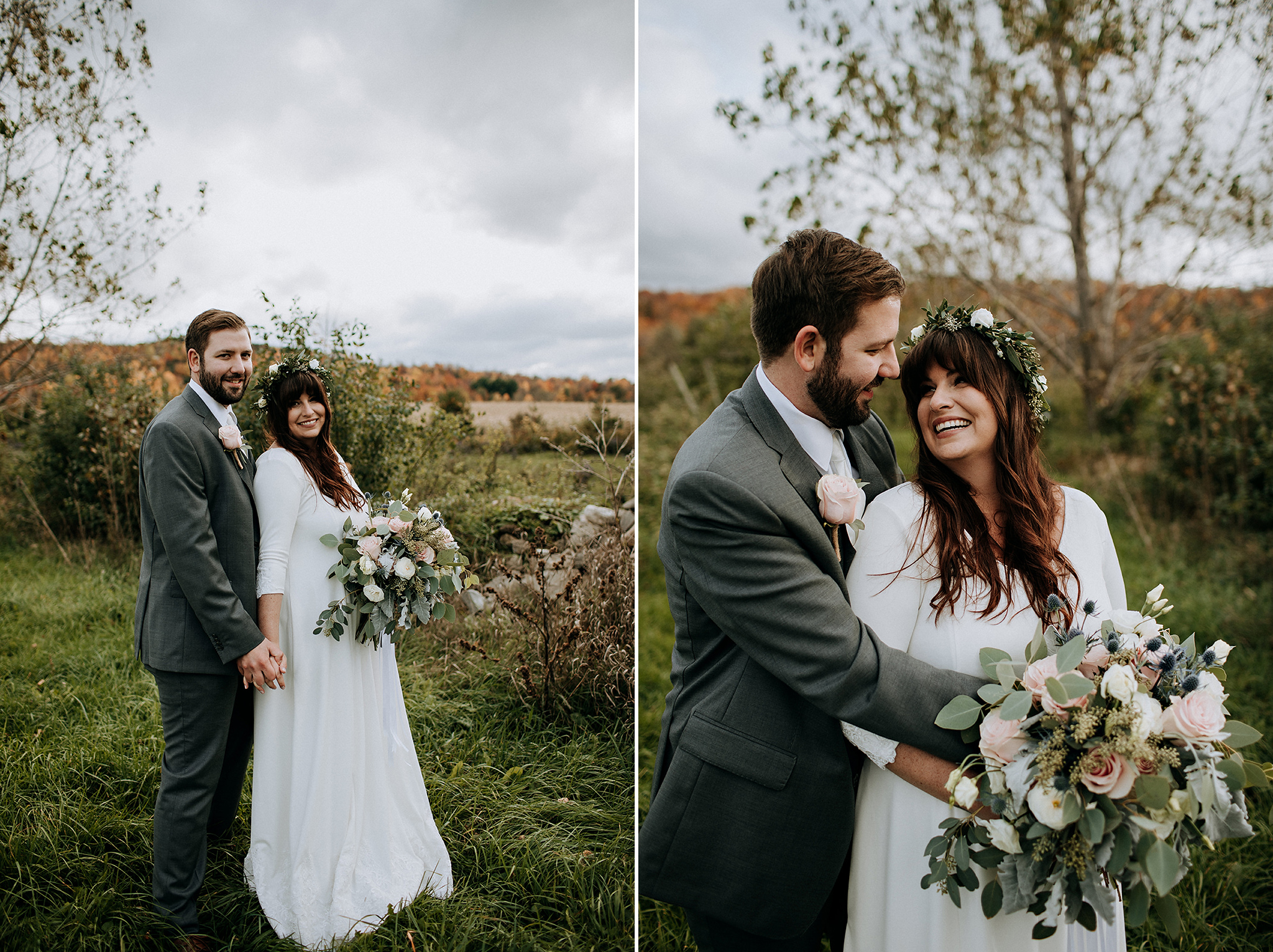 cozy autumn couple portrait at meaford barn wedding