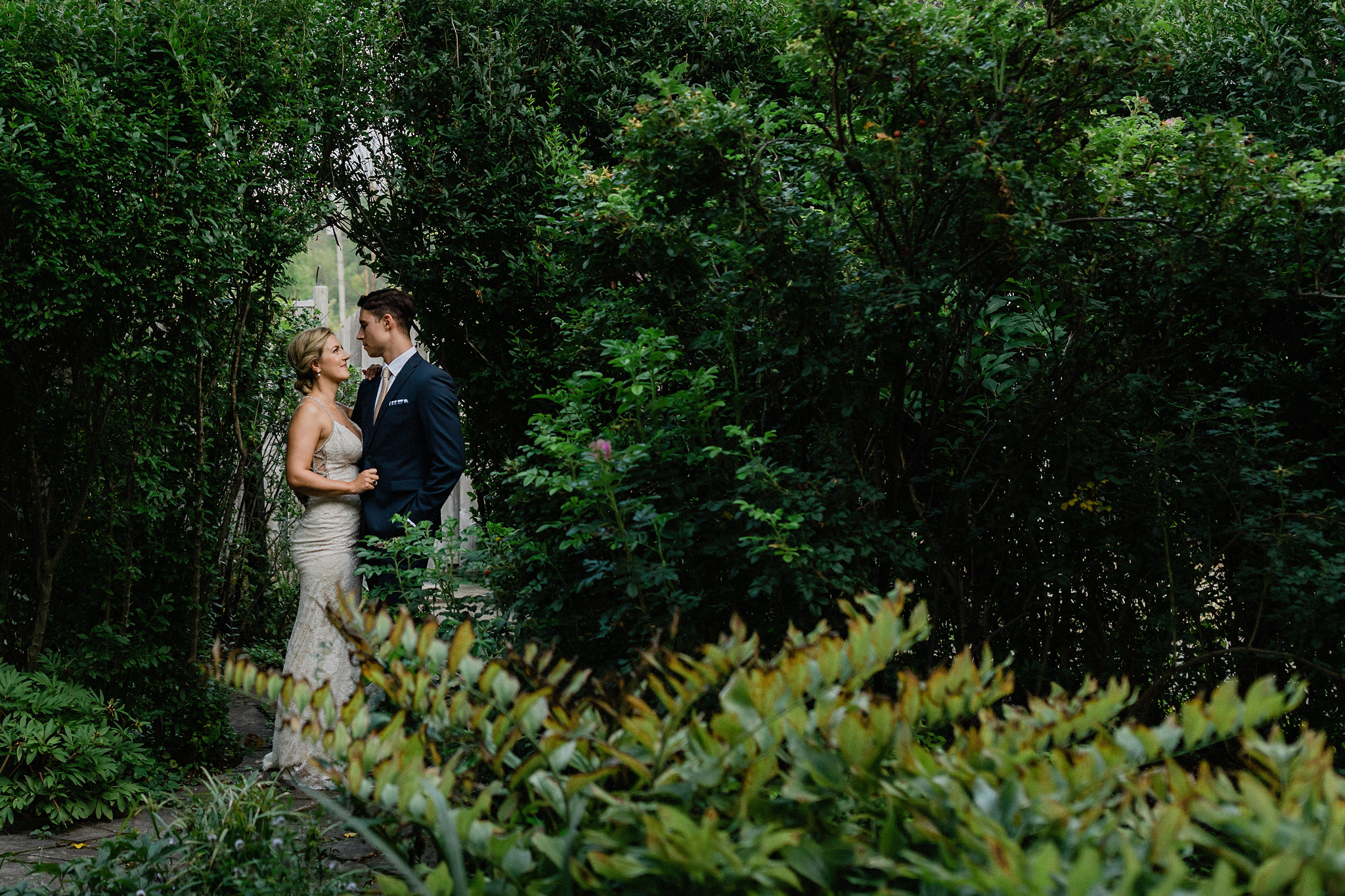 Bride and groom portraits in the magical garden at Coffin Ridge