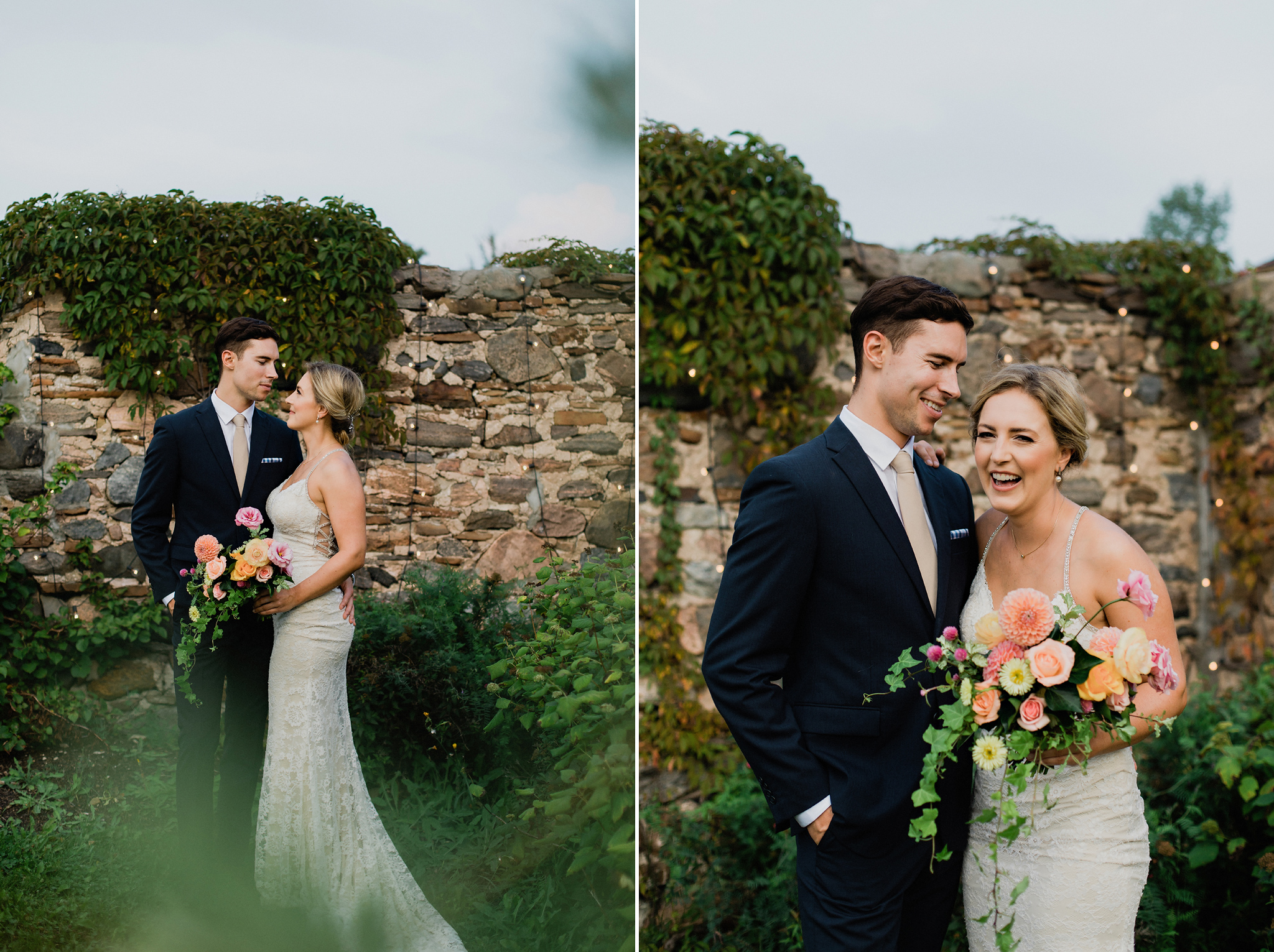 Romantic bride and groom porraits in the ruins at Coffin Ridge B