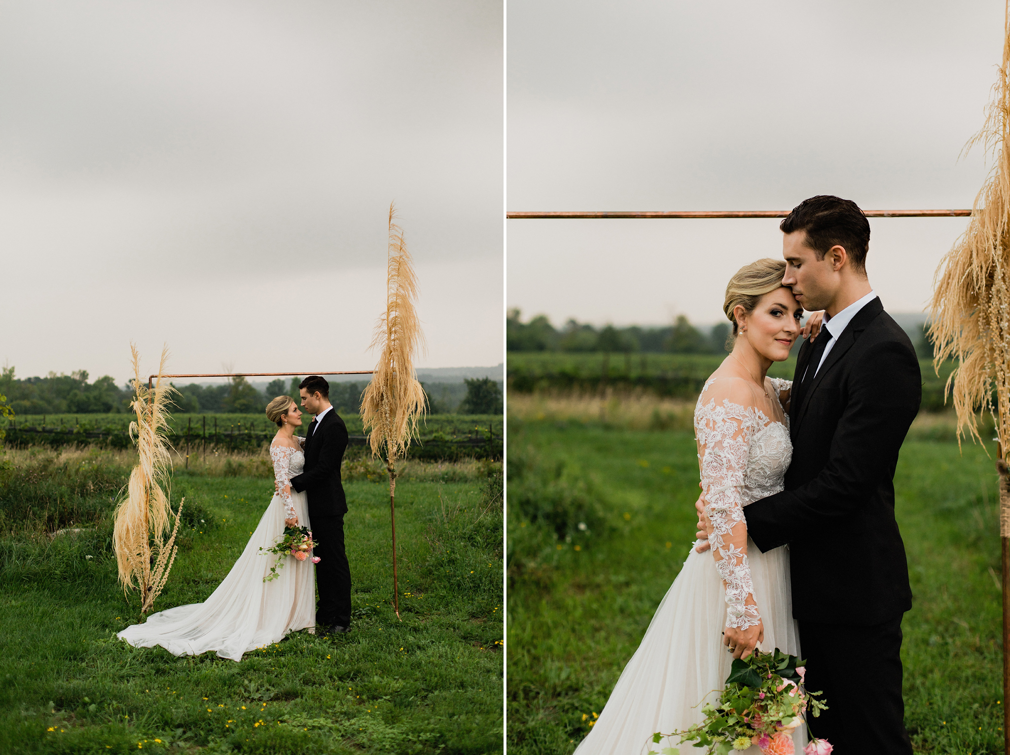 Couple stand at copper and dried grass wedding arch at Coffin Ri