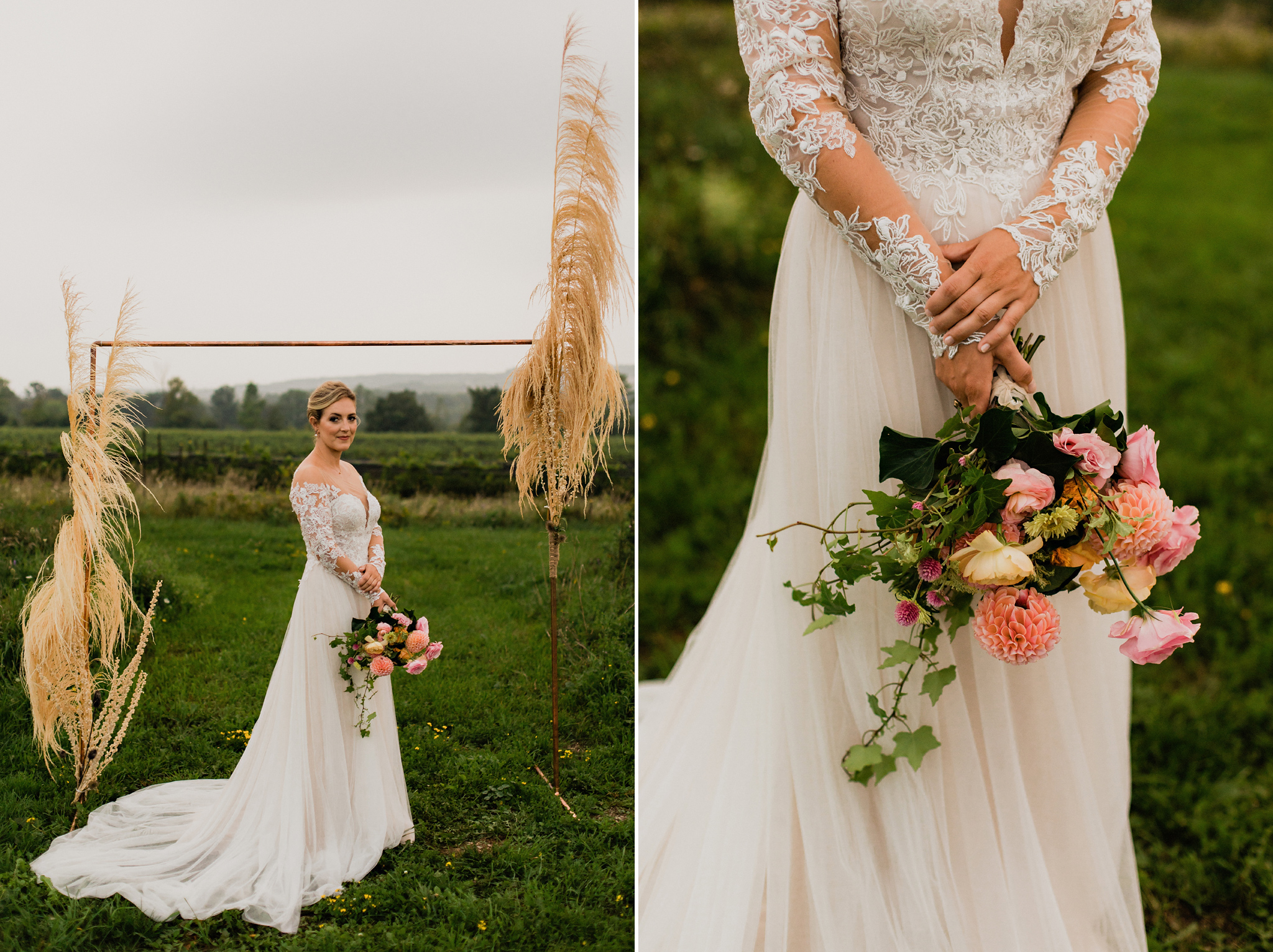 Golden hour bridal portraits under copper and dried grasses arch