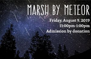 Aug 9 - Marsh by Meteor - When/Where: 11:00PM - 1:00AMWye MarshAugust is the magical time that you have the opportunity to see the most prolific and well known meteor shower, the Perseid.Bring a blanket and a chair, and sit back to enjoy the spectacular display of shooting stars while an outdoor educator shares knowledge about the stars and the event.Admission is by donation. Food & Drinks will be available for purchase.