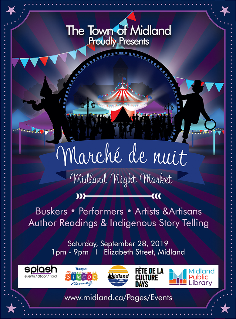 Sept 28- Marche de Nuit - When/Where: 1-9pmDowntown MidlandThis night market will feature artists, storytellers, buskers, performers, musicians. This event is all ages and looks like it will have a little bit of something for everyone.