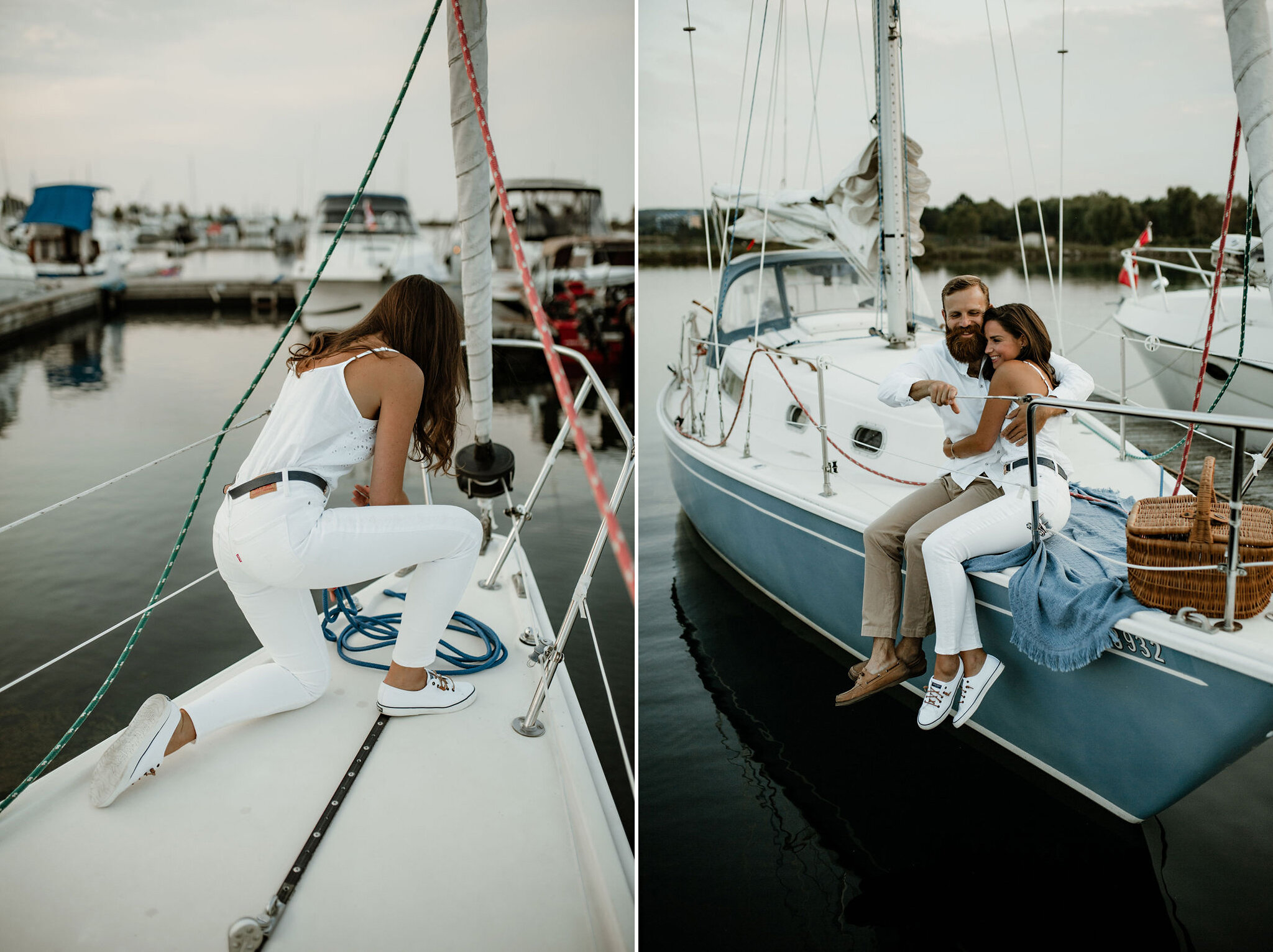 Owen Sound Harbour sailboat engagement session