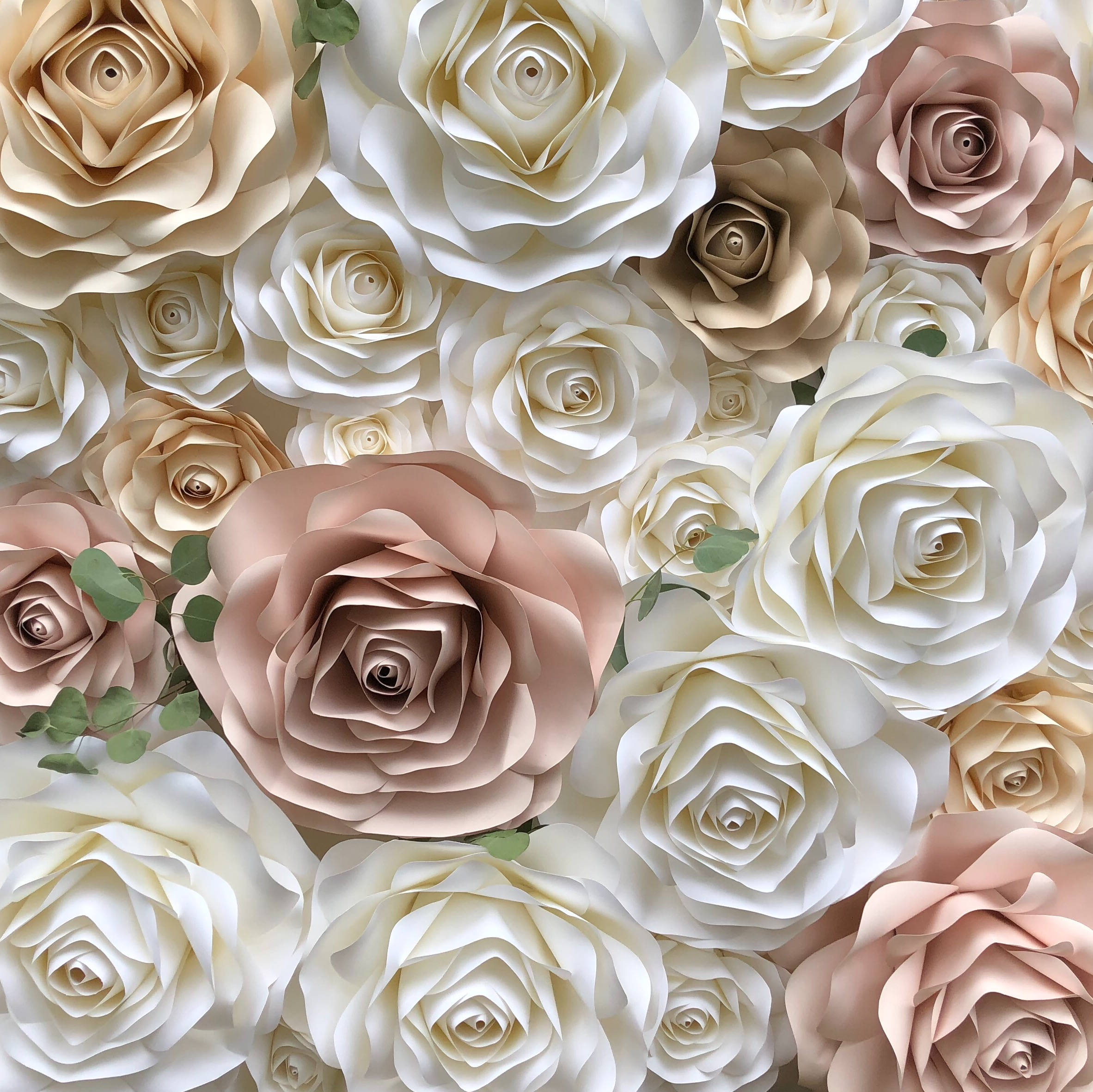 Laurena  white, blush, cream & taN. accented with a hint of greenery