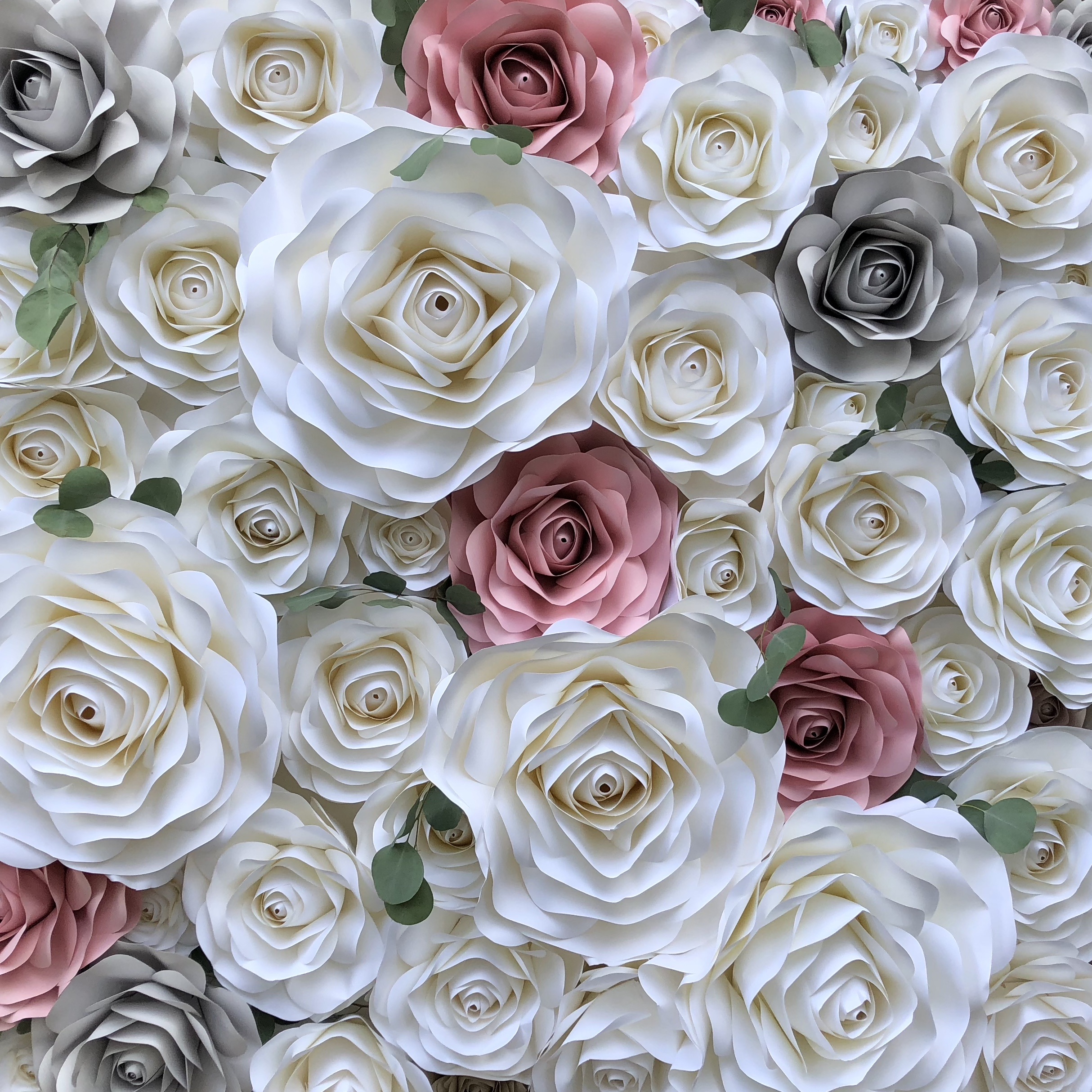 MANDY  WHITE, PINK & GRAY. ACCENTED WITH A HINT OF GREENERY