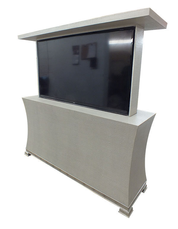 115 Linen And Silver Pop Up Tv Cabinet Custom Furniture
