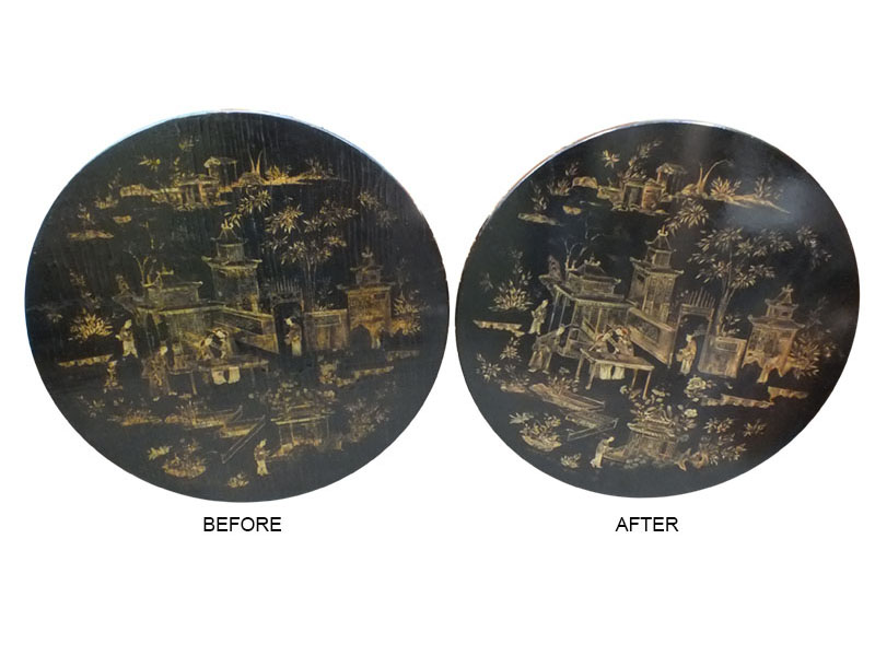 BEFORE AND AFTER RESTORATION TABLE TOP WITH JAPANESE SCENE