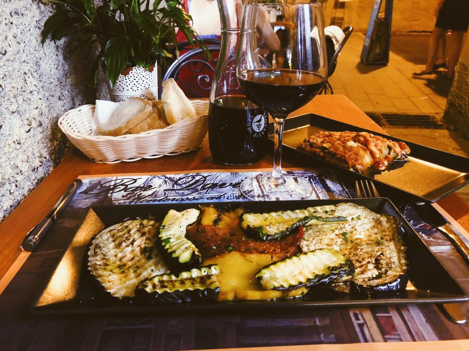 Dinner in Monterosso al Mare. So much eggplant and zucchini.
