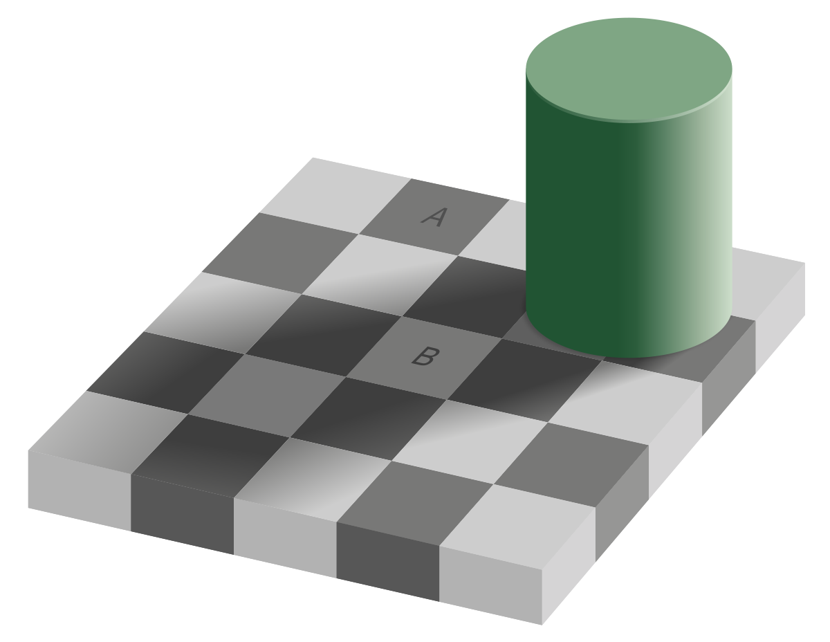Addelson illusion:  The squares marked A and B are the same shade of gray!