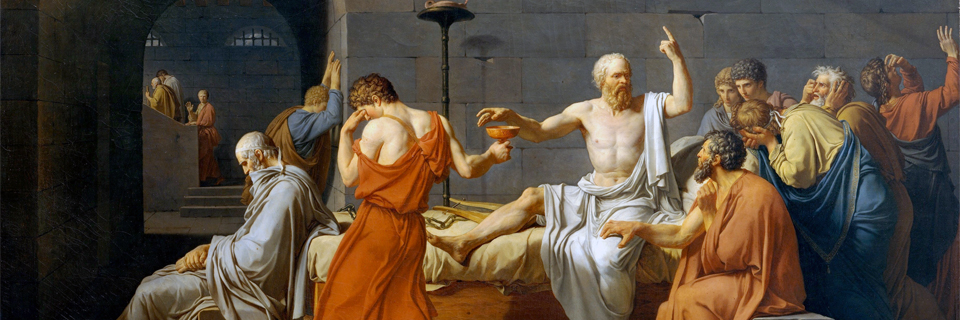 Jacques-Louis David (1787)   The Death of Socrates.  Oil on Canvas. Metropolitan Museum of Art, New York.
