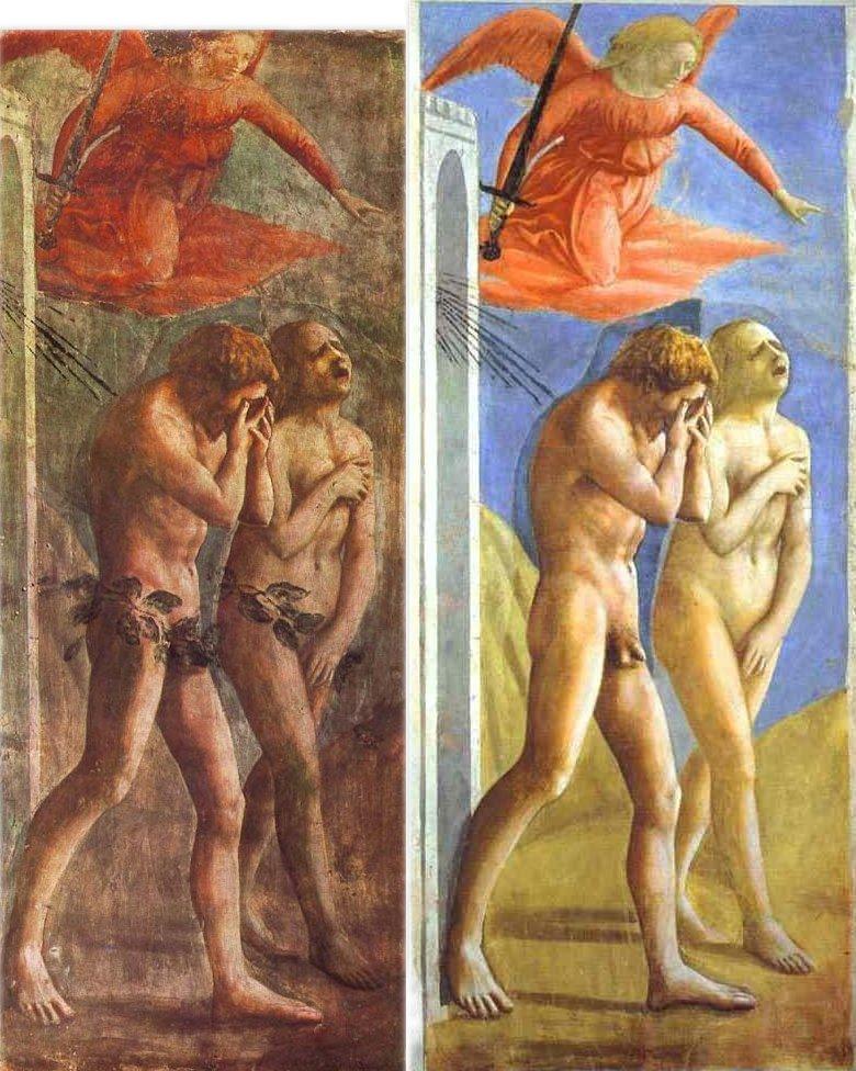 Restoration of  Masaccio's (c. 1425)   Expulsion of Adam and Eve from Eden.  Brancacci Chapel, Santa Maria del Carmine, Florence.