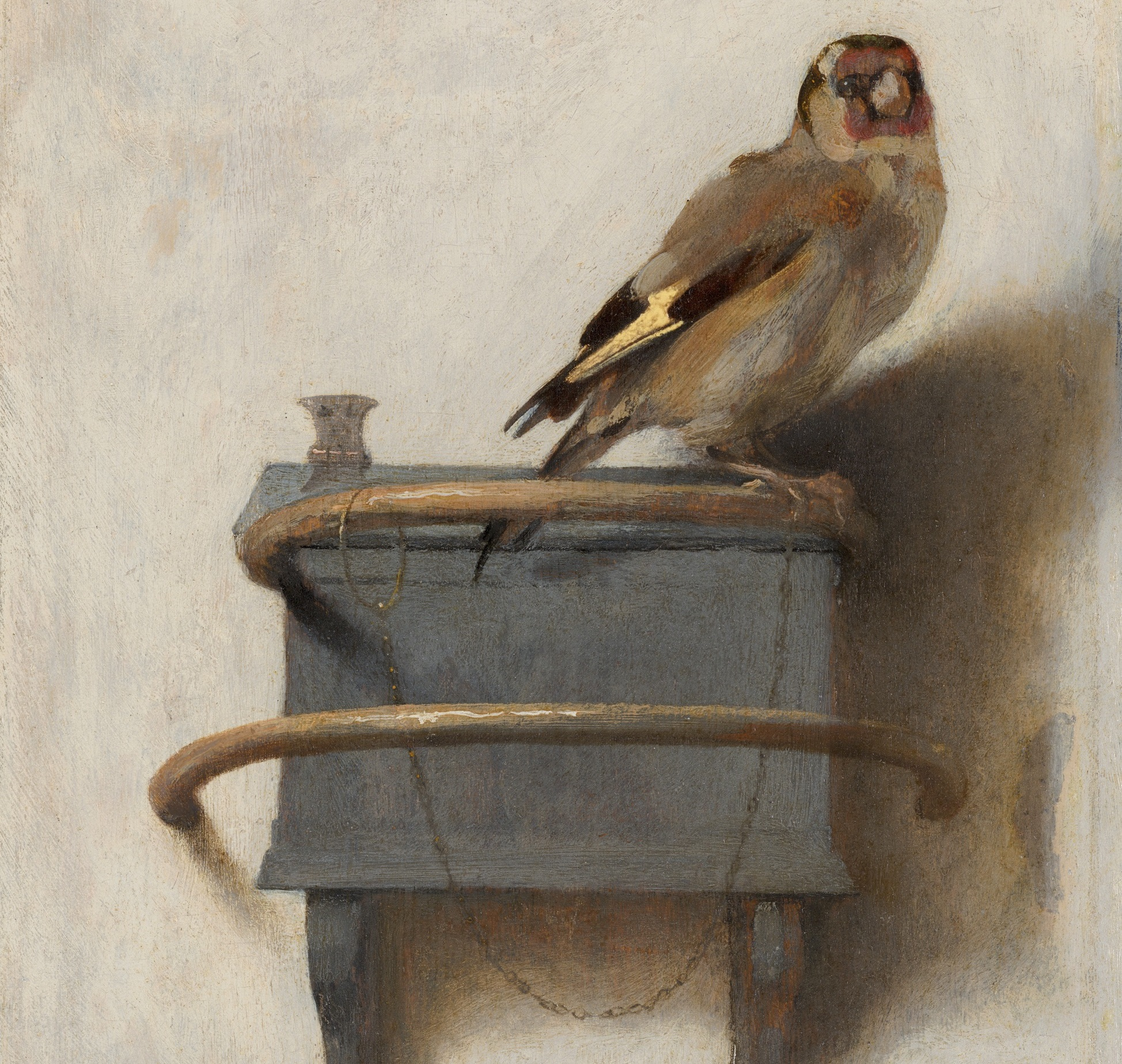 Carel Fabritius (1654)   Goldfinch.  Oil on panel. Mauritshuis collection, The Hague.