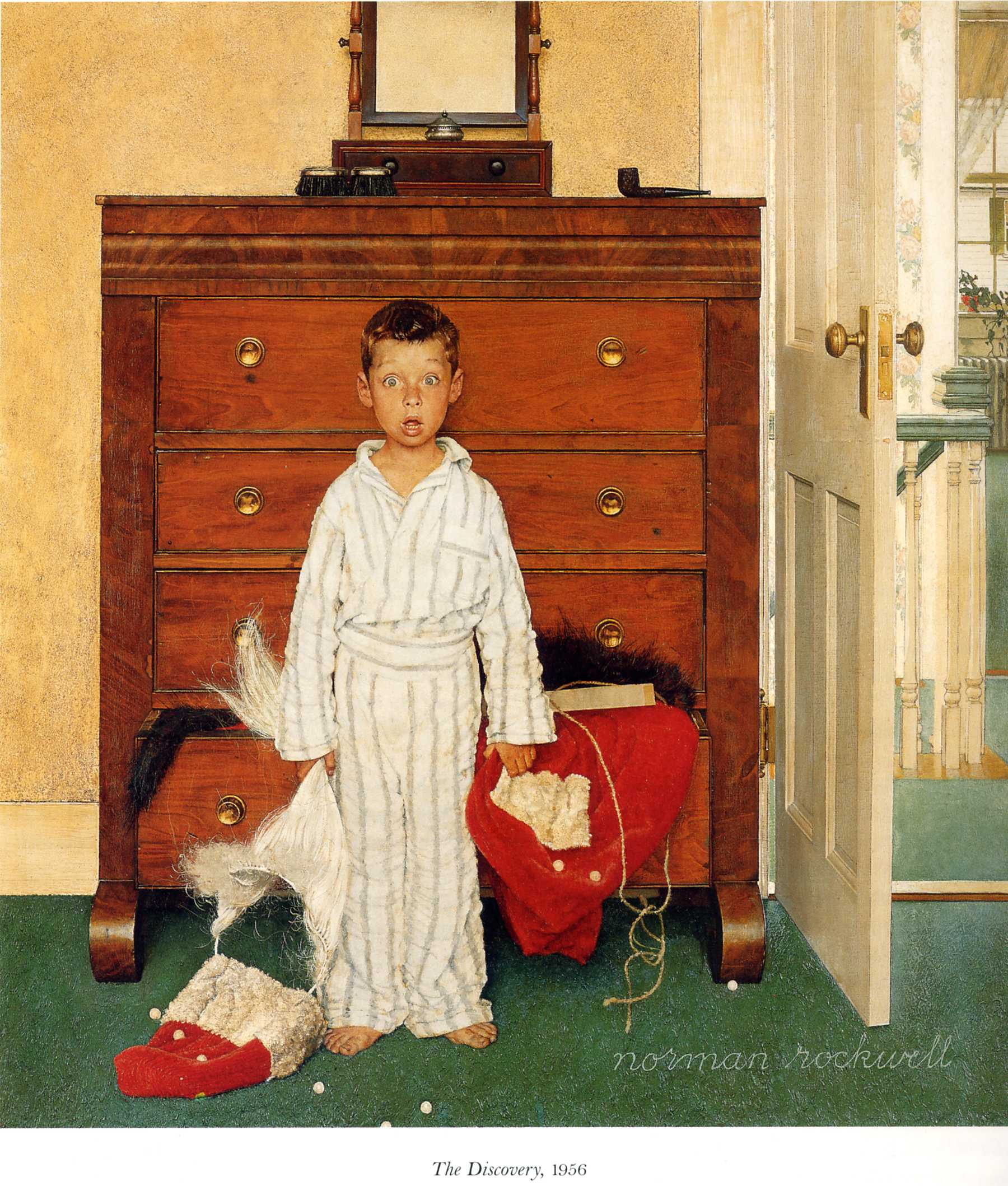 Norman Rockwell (1956)   The Discovery.  Oil on Canvas. Norman Rockwell Museum.  This was his final Saturday Evening Post Christmas cover.