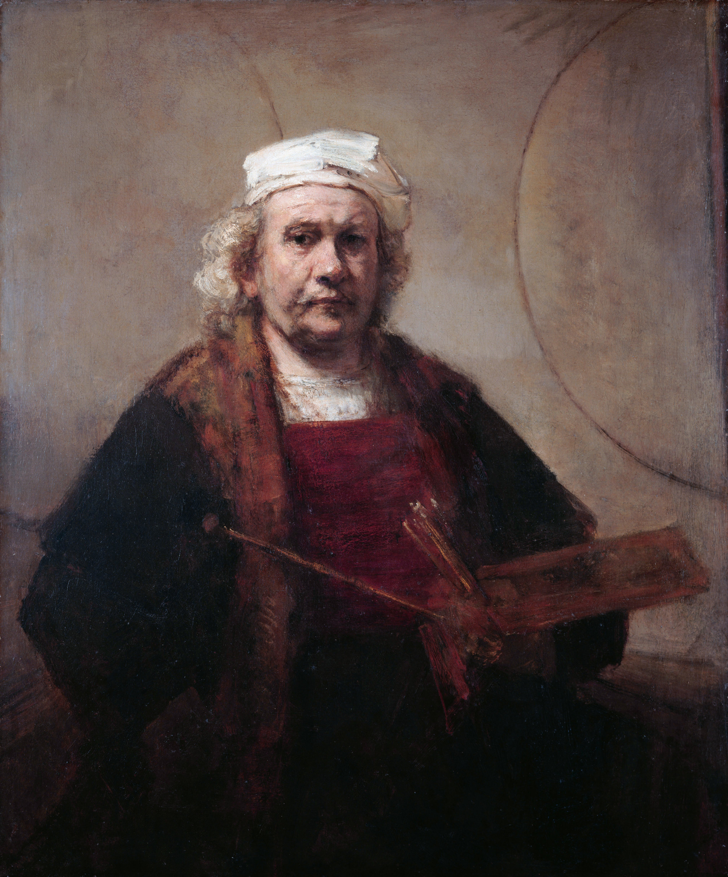 Rembrandt (1665-69)   Self Portrait with two circles.  Kenwood House, London.  Also see:  The Rembrandt self portraits  in the Arts as a Way of Knowing.