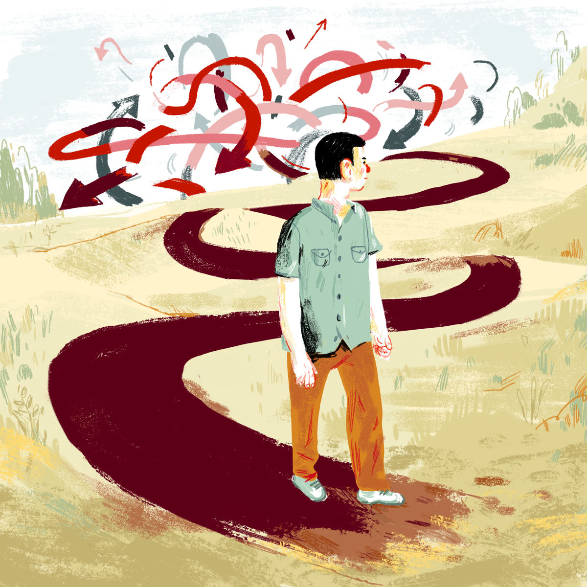 Illustration: Nathan Huang. From  Does it help to know history?  By Adam Gopnik: New Yorker August 28, 2014.