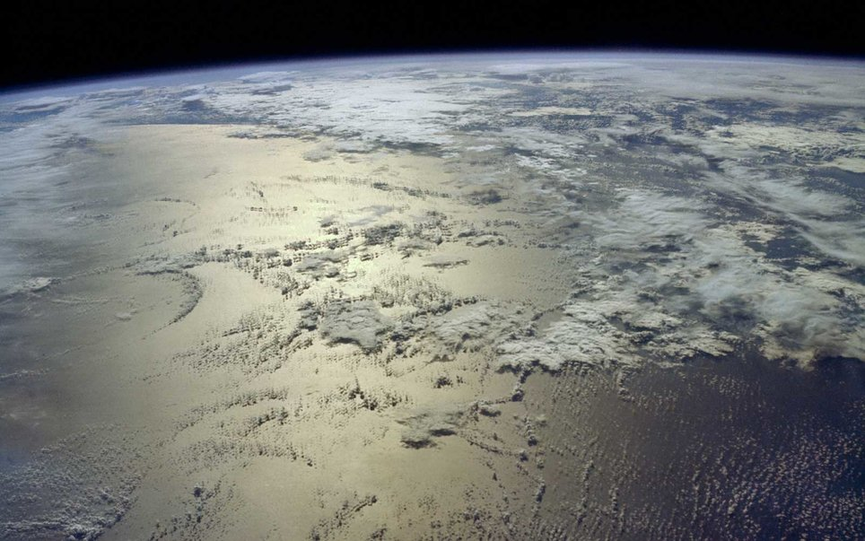The Indian Ocean, just east of the island of Madagascar, as seen from the Gemini-6 spacecraft. Photo: NASA