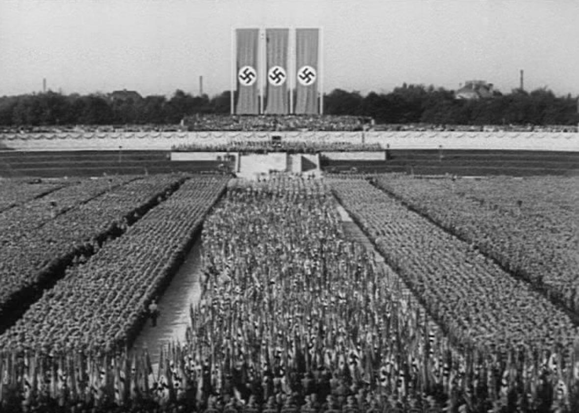 Publicity image from Leni Riefenstahl's 1934 nazi propaganda movie  Triumph of the Will.