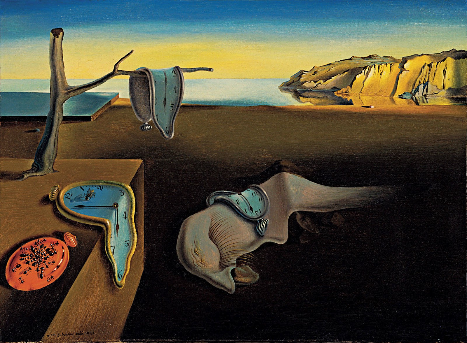 Salvador Dalí (1931)   The Persistence of Memory.  Oil on canvas. Museum of Modern Art, New York.