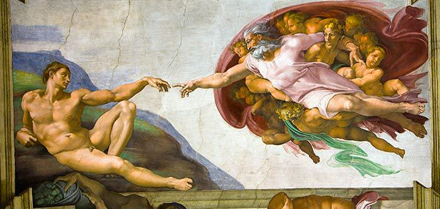 Michelangelo (1509-12)  Creation of Adam  (detail). Fresco. Sistine Chapel, Rome.