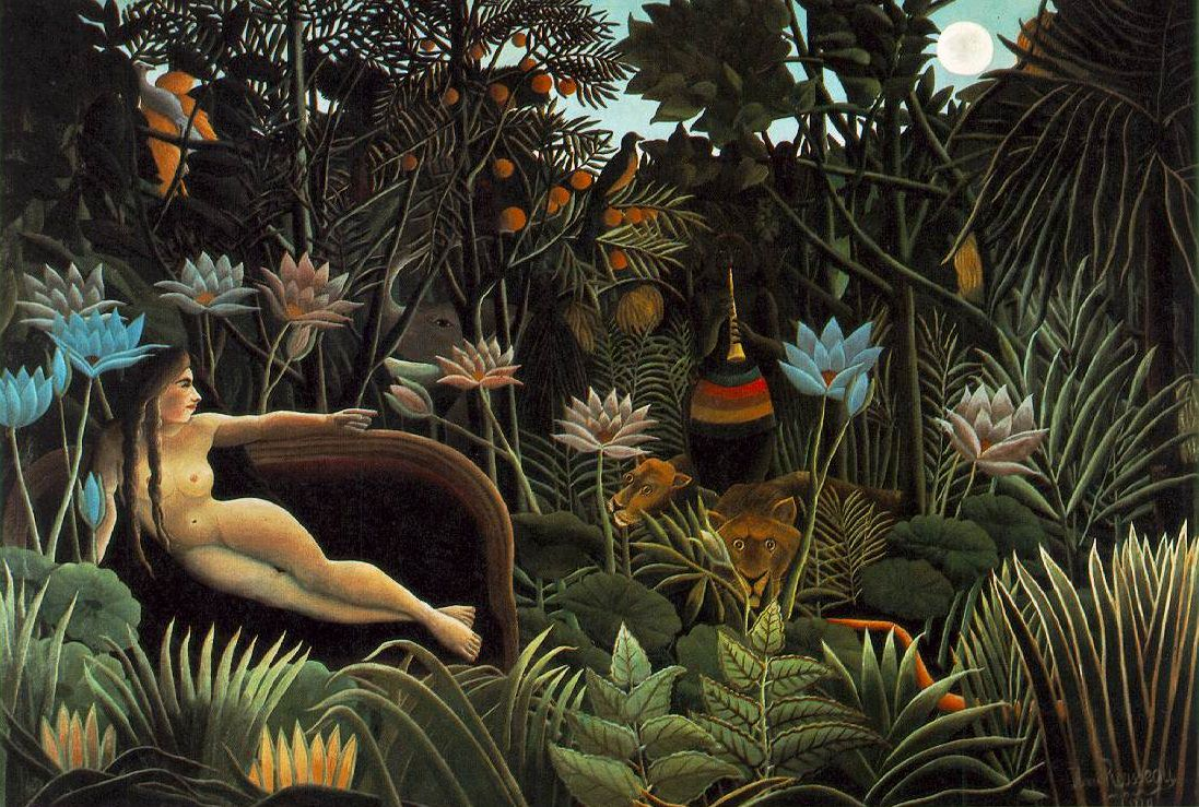 "Henri Rousseau (1910)     The Dream.  Oil on canvas Museum of Modern Art, New York  Rousseau made 25 jungle paintings in his untrained, primitive style. He was a government customs officer and never left France or saw a jungle with his own eyes. He visited the  Jardin des Plantes  museum in Paris frequently:   ""When I go into the glass houses and I see the strange plants of exotic lands, it seems to me that I enter into a dream."""