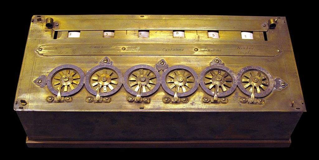 Pascaline: 17th Century mechanical calculator built by Blaise Pascal.  Musée des Arts et Métiers, Paris