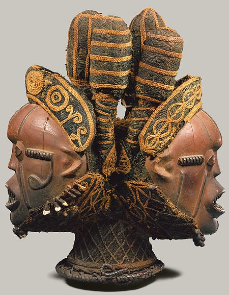 Janus headdress of the Boki from Nigeria.  (19th–20th century) African collection. The Met, New York.   A Janus-like deity has arisen in many cultures. There are two faces. One looks to the future, the other, to the past. Janus can represent beginnings and endings, rites of passage, gateways, transitions, duality, and the passage of time.