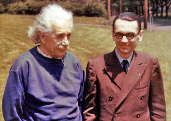 Einstein and Gödel on one of their regular walks in Princeton, New Jersey.