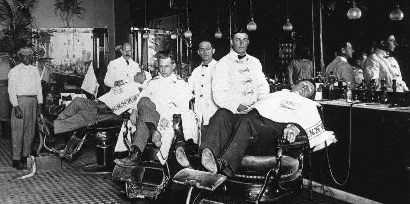 Old photo of the Frantz Barber Shop, Anaheim, CA.