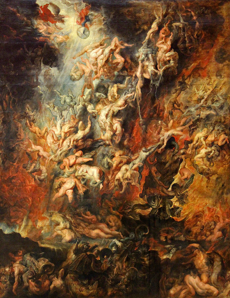 Peter Paul Rubens (c. 1629)   Fall of the Damned.  Oil on canvas. Alte Pinakothek, Munich.