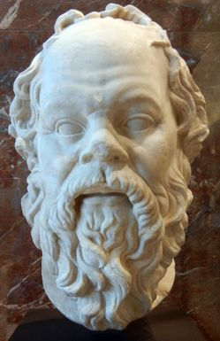 Portrait of Socrates,   cast from a 4th Century B.C. bronze by Lysippos. Louvre, Paris.