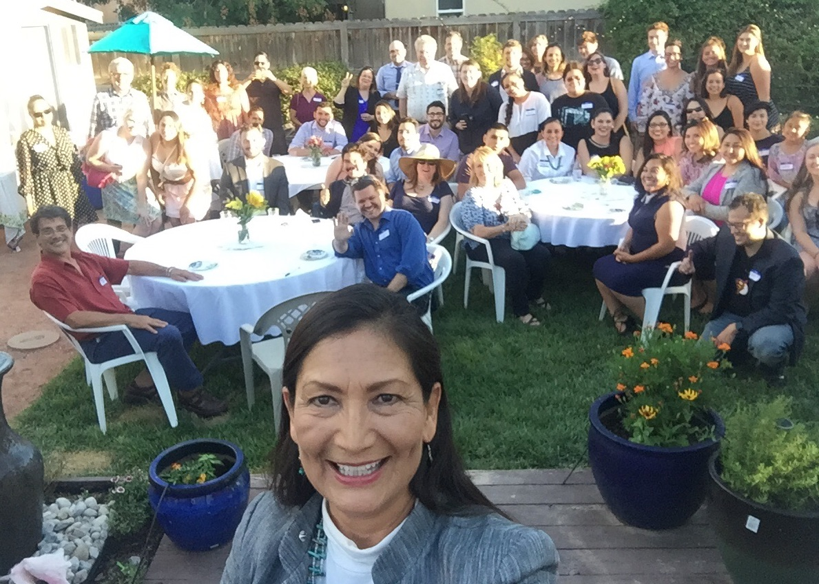 Deb Haaland with supporters at a house party fundraiser in Albuquerque NM
