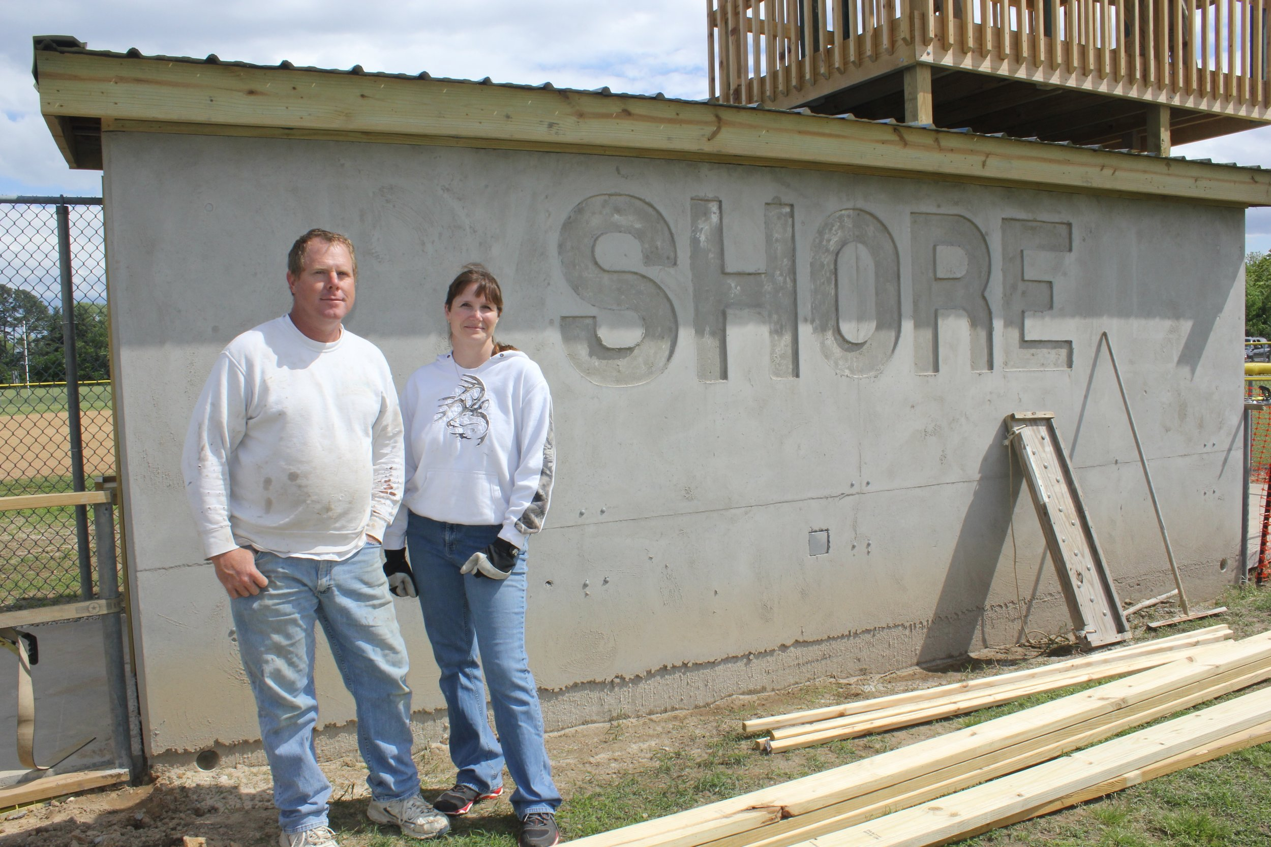 We love our volunteers!! Huge thank you to Thomas James and Michelle Ferebee for all the hours of work they dedicated to the construction of the new Shore Little League dug-outs. They look amazing!