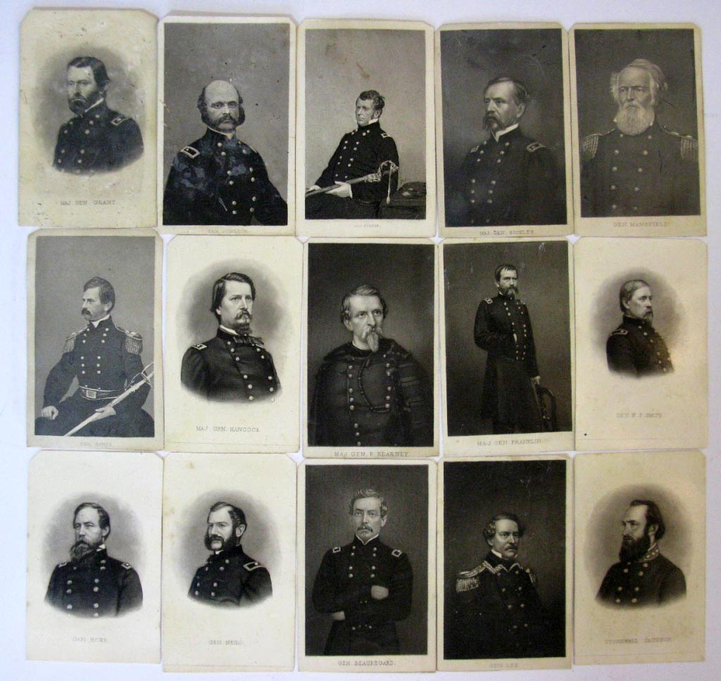fifteen Union and Confederate CDV cards of Generals and Major Generals from the Civil War.