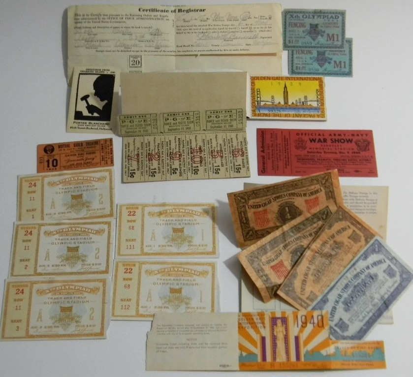 Exhibition tickets and souvenirs from the X Olympiad in Los Angeles, CA and the Golden Gate International Exposition, ranging from 1932 to 1940.
